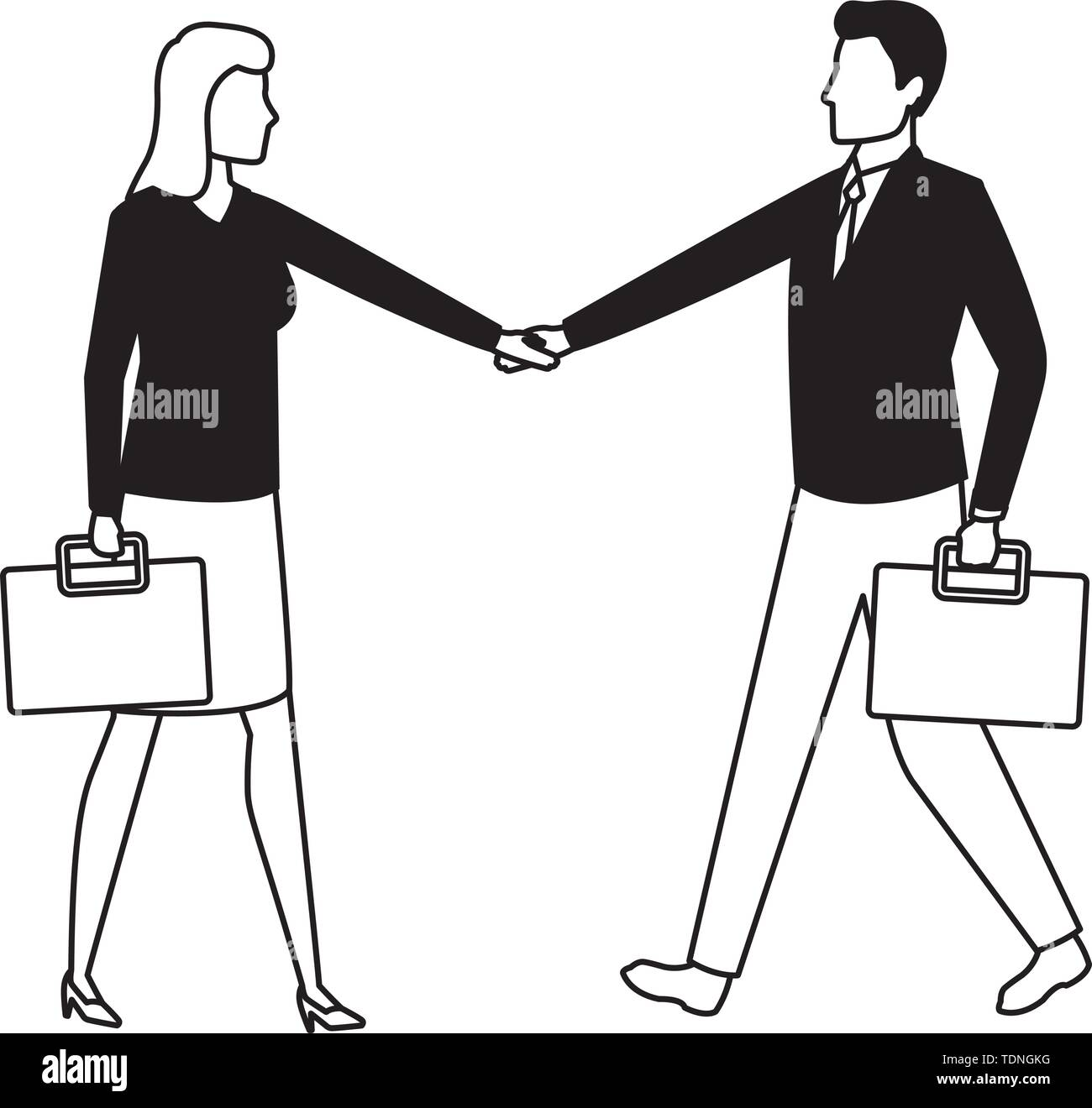 business business people businessman and businesswoman shaking hands and carrying a briefcase avatar cartoon character in black and white - Stock Image