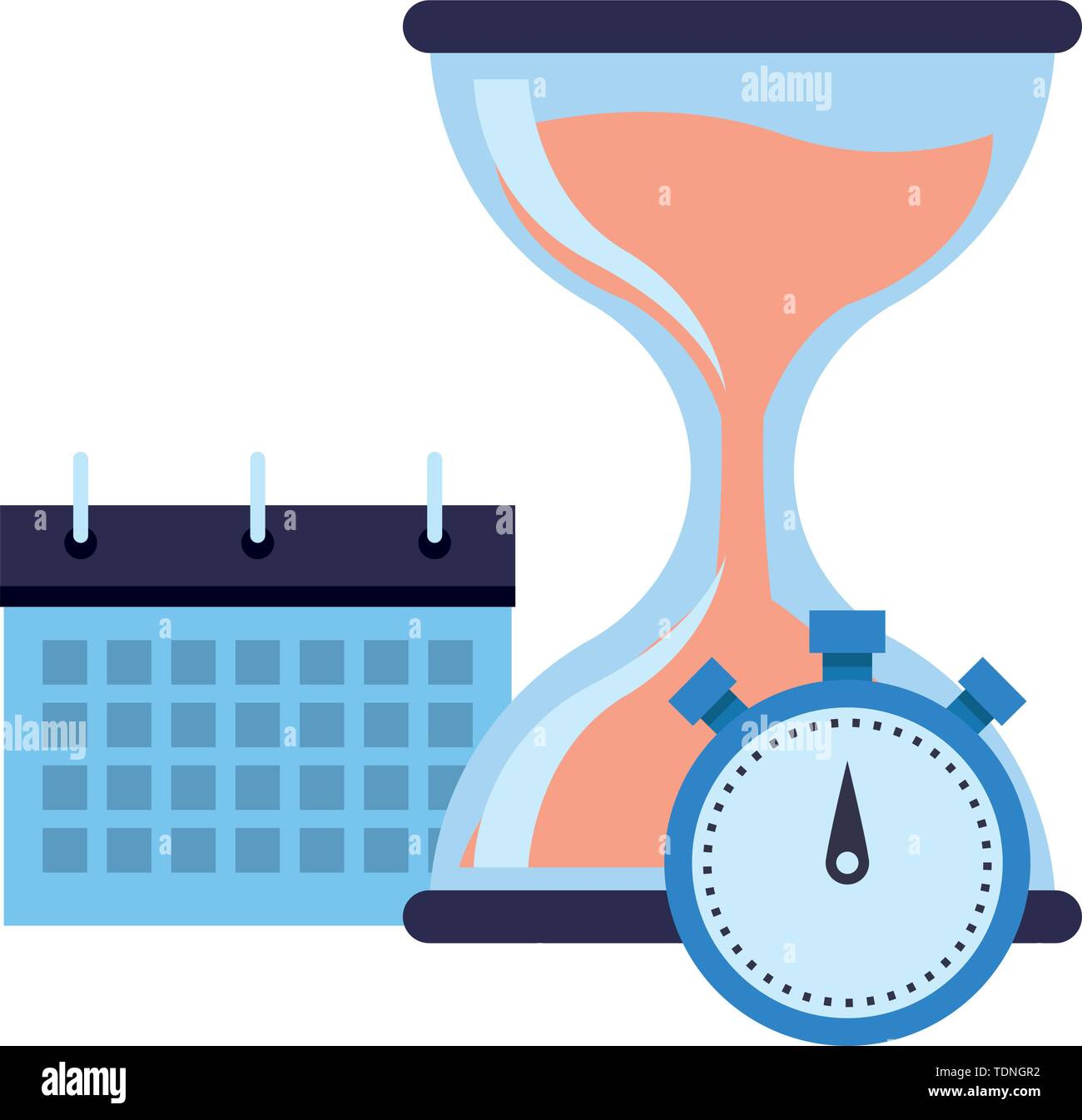 hourglass sand timer with chronometer and calendar icon cartoon - Stock Image