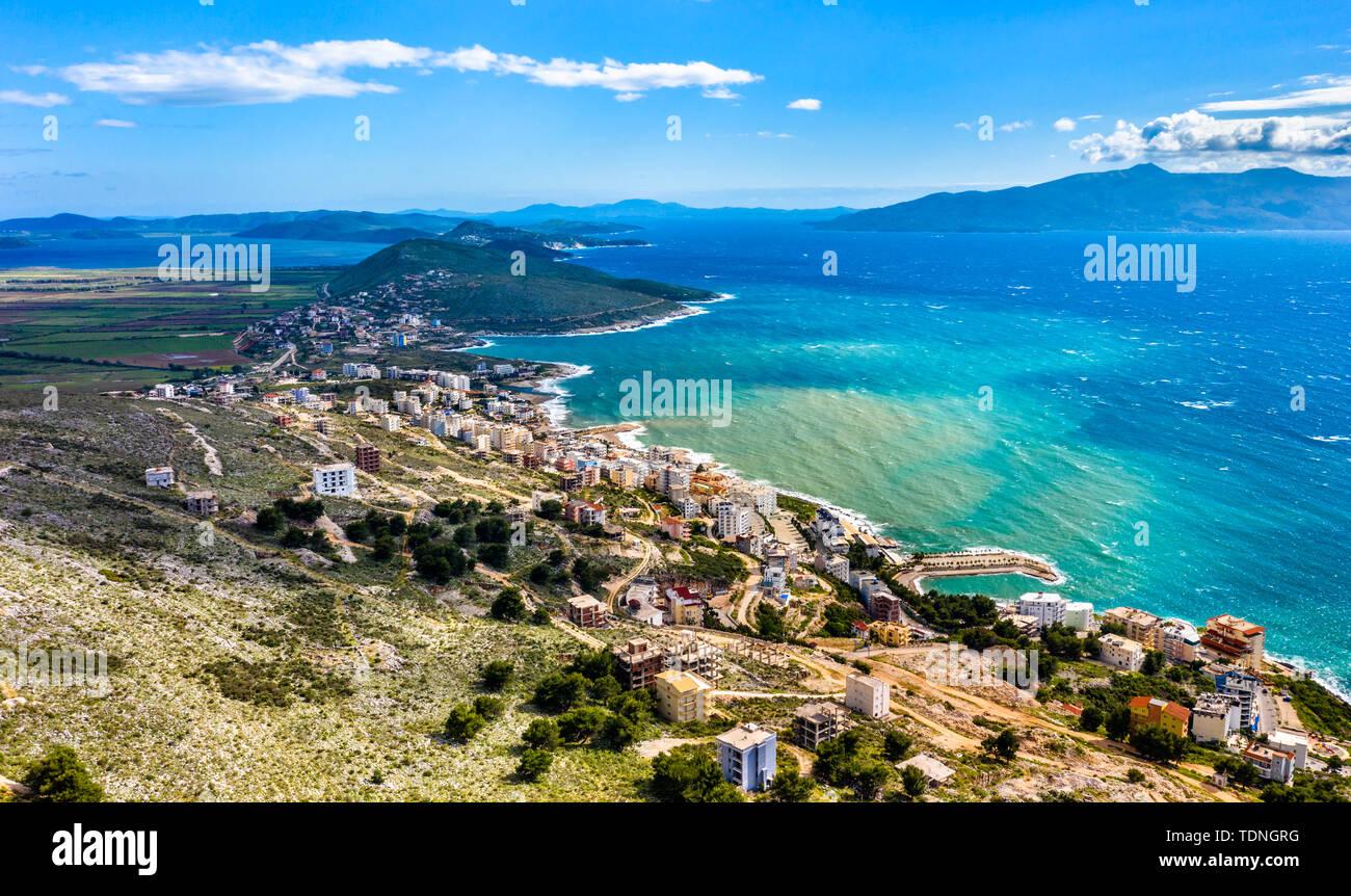 Aerial view of Saranda, Albania - Stock Image
