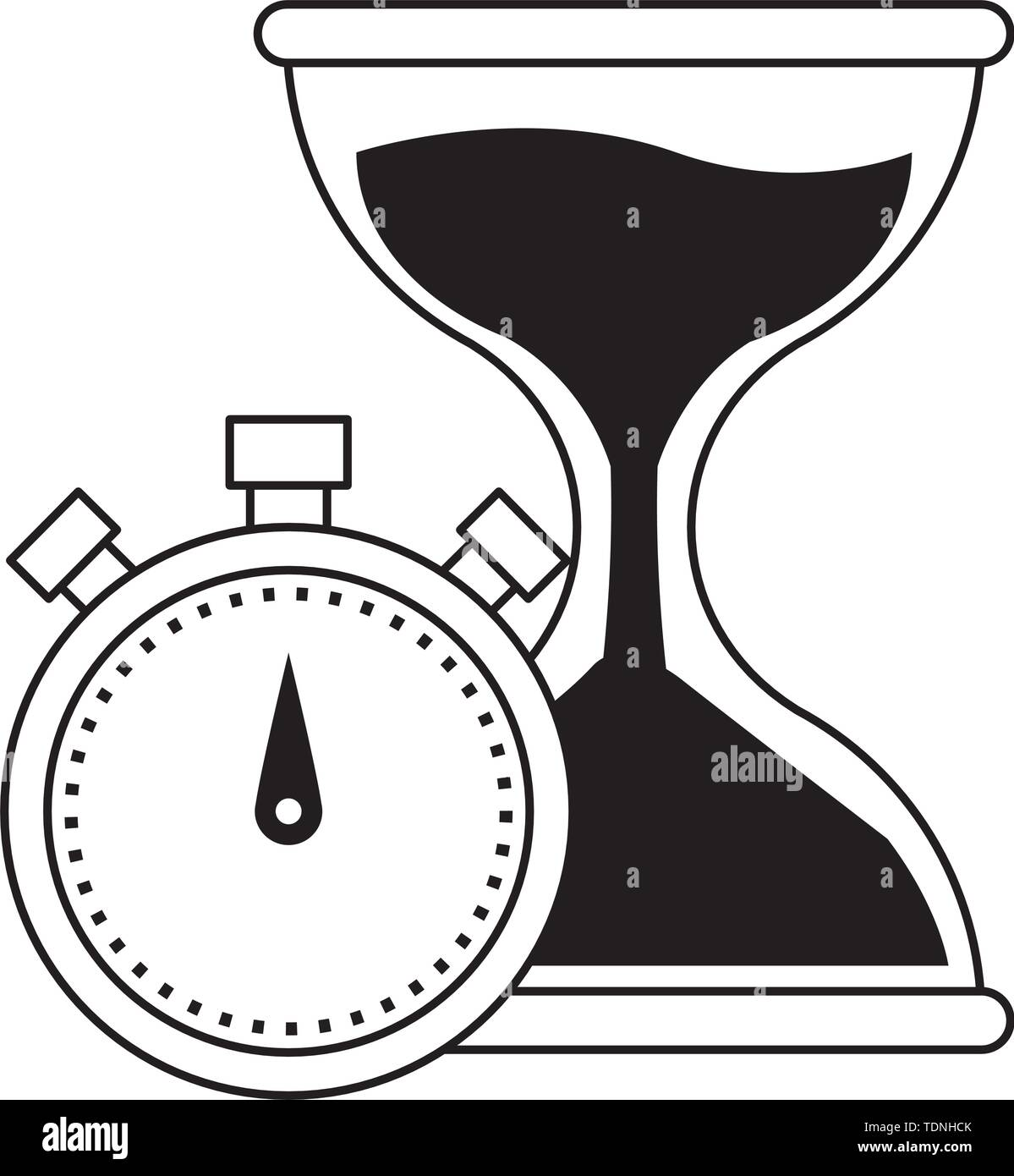 hourglass sand timer with chronometer icon cartoon in black and white vector illustration graphic design - Stock Image