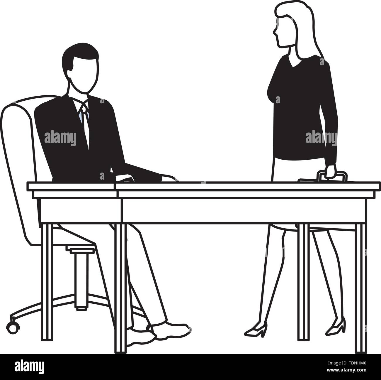 business business people businessman sitting on a desk and businesswoman carrying a briefcase avatar cartoon character in black and white - Stock Image