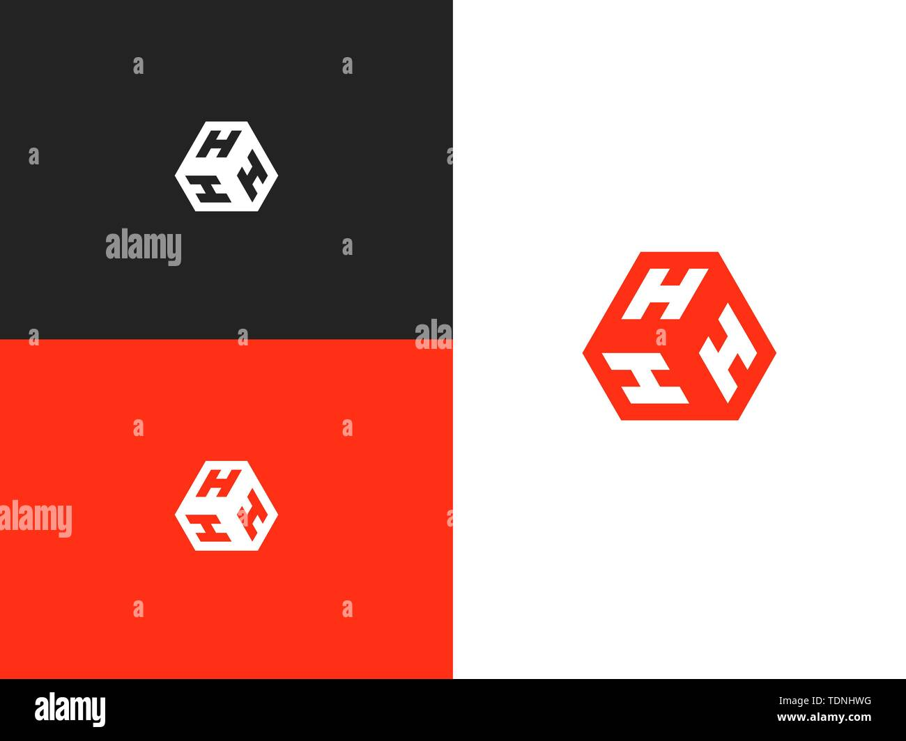 Vector letter H logo. The cube with the letter HHH brand logo. Modern logotype, business corporate template. - Stock Image