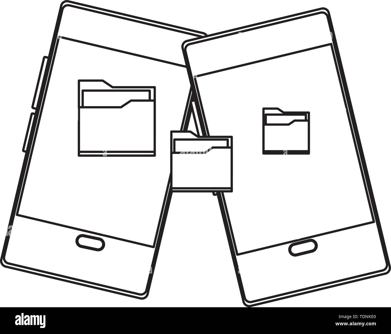 cellphone communication mobile with documents folder icon cartoon in black and white vector illustration graphic design - Stock Image