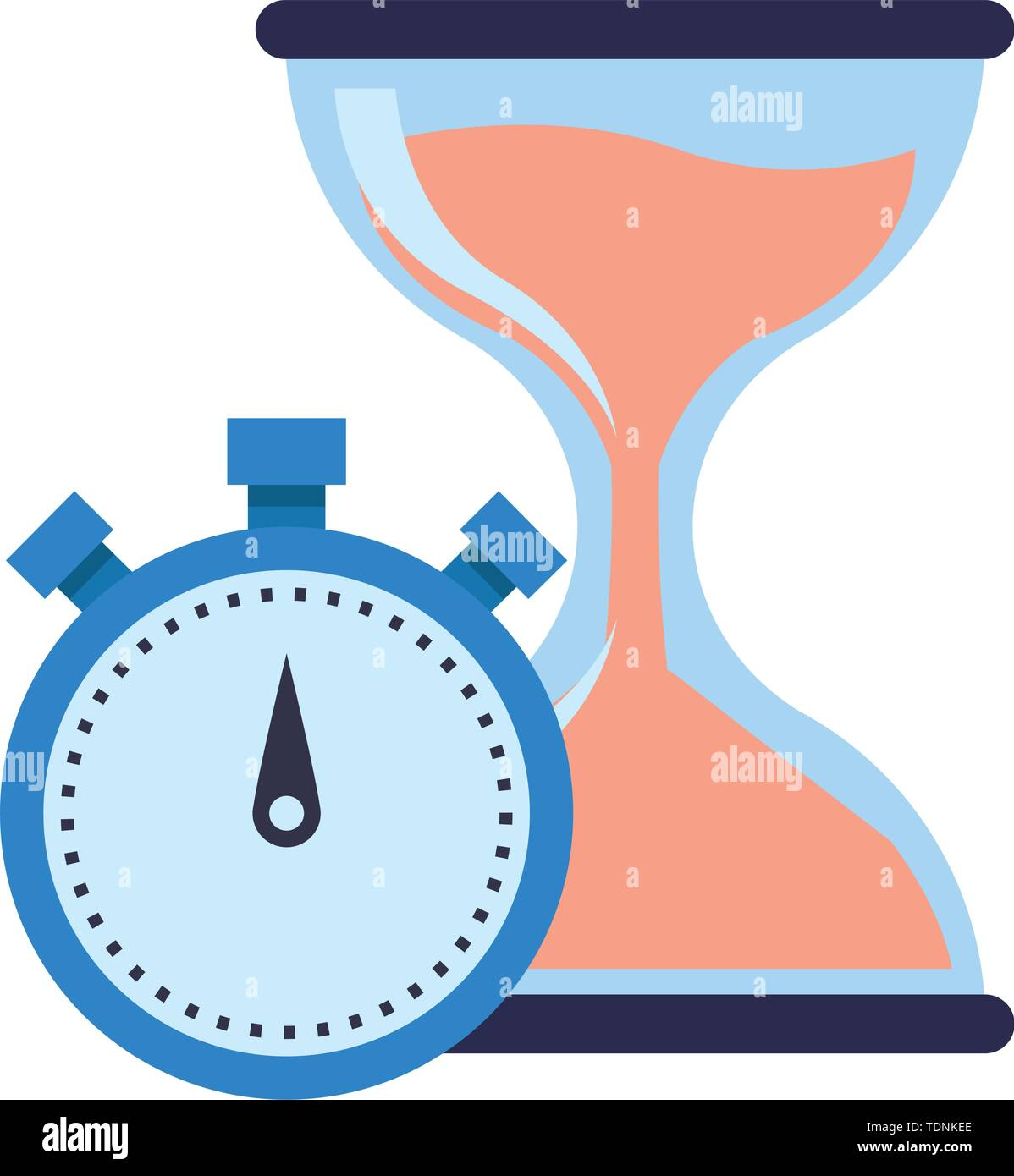 hourglass sand timer with chronometer icon cartoon - Stock Image
