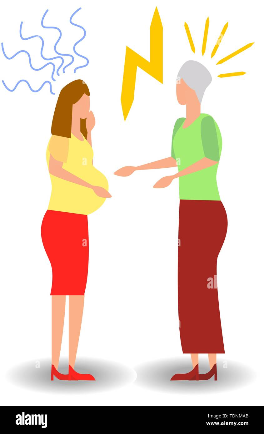 quarrel with a pregnant woman. Aggressive people yell at each other. design graphics in a flat stylish style - Stock Image