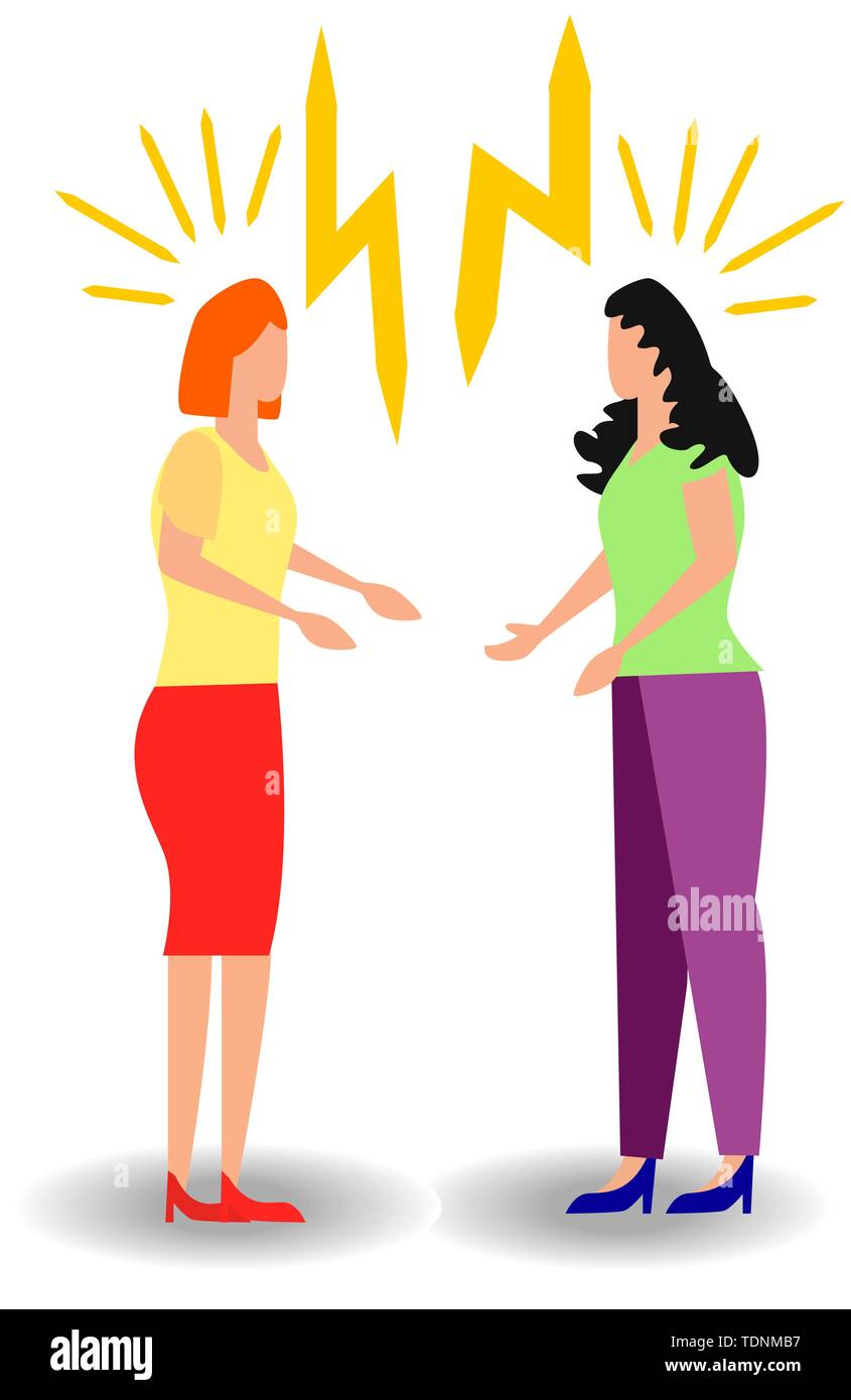 a set of a couple of people quarrel and swear. Aggressive people yell at each other. design graphics in a flat stylish style - Stock Image