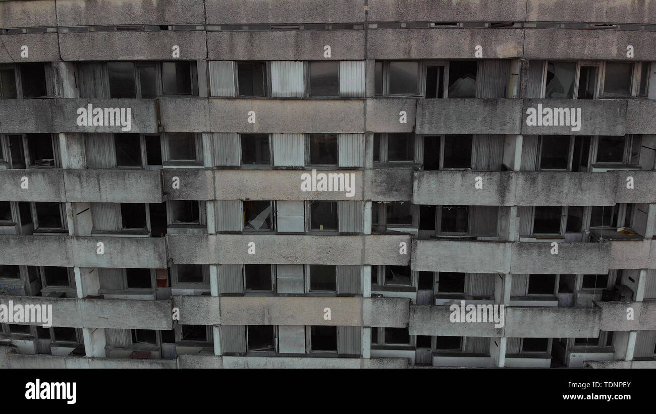 Ruined house. Drone flies over the deserted abandoned city of Pripyat, Ukraine. City of Pripyt near the Chernobyl nuclear power plant. Radioactive con - Stock Image