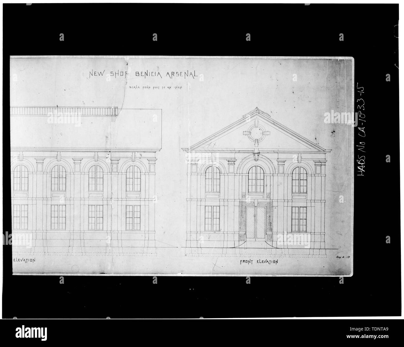 Photocopies of original drawings (from National Archives, Cartographic; Division, Record Group 156) Delineator unknown. - Benicia Arsenal, Shop Buildings, Tyler Street, Benicia Industrial Park, Benicia, Solano County, CA - Stock Image