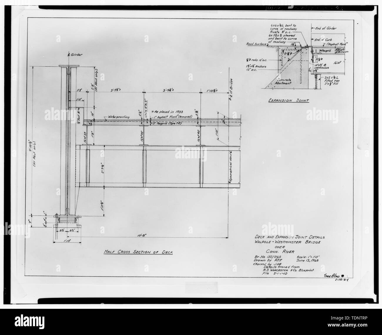 Photocopy of 1968 repair drawing for 'Walpole-Westminster Bridge Over- Connecticut River', unattributed. (Filed with N.H. Department of Transportation, Bridge Design Division plan archives, Concord, N.H.) Sheet- Deck and Expansion Joint Details June 13, 1968 - Walpole-Westminster Bridge, Spanning Connecticut River between Walpole, NH and Westminster, VT, Walpole, Cheshire County, NH - Stock Image