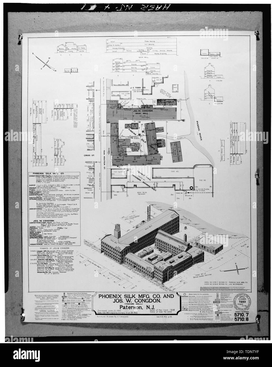 Photocopy of Associated Mutual Company Fire Insurance Map-1905. VIEW AND PLAN (4x5 NEGATIVE) - Phoenix Mill, Van Houten and Cianci Streets, Paterson, Passaic County, NJ - Stock Image