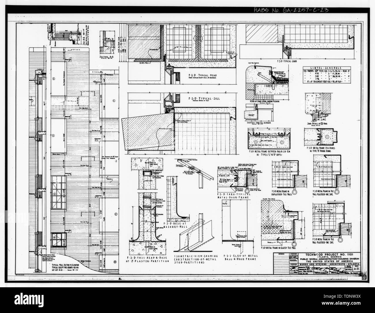 Photocopy of Drawing (November 1934 Architectural Drawings by Burge and Stevens, in Possession of the Engineering and Capital Improvements Department of the Atlanta Housing Authority, Atlanta, Georgia). TYPICAL WALL SECTION AND ELEVATION, TYPICAL DETAILS OF HEAD, SILL, BASE, JAMB, AND METAL DOOR FRAMES, DETAIL OF STONE COPING, AND STONE SILL ALTERNATE, LINTEL SCHEDULE, TECHWOOD PROJECT -1101, SHEET A-51. - Techwood Homes, Building No. 1, 575-579 Techwood Drive, Atlanta, Fulton County, GA - Stock Image