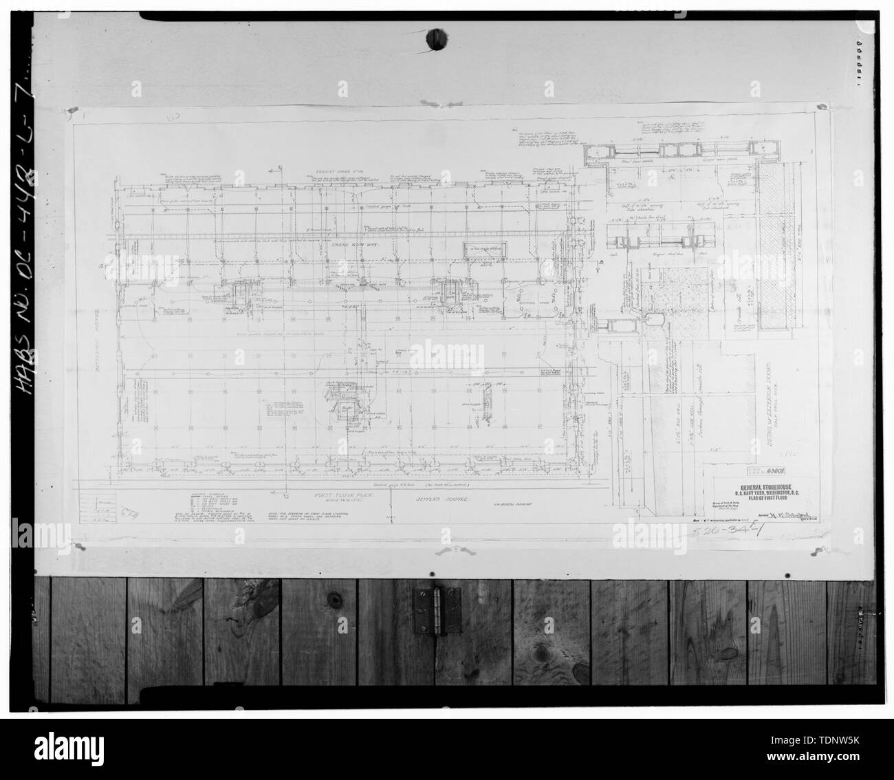 Photocopy of First Floor Plan, dated 3 November 1914. Original drawing located at Public Works Center, Drawings and Map Vault, Building 166, Washington Navy Yard, Washington, D.C. - Navy Yard, Building No. 143, Between Isaac Hull and Patterson Avenues, Washington, District of Columbia, DC - Stock Image