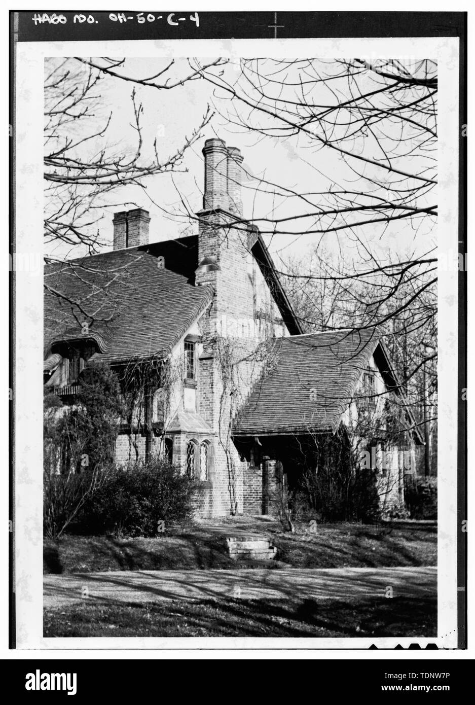 Photocopy of January, 1942 photograph taken by and provided courtesy of Representative John F. Seiberling GATE HOUSE - Stan Hywet Hall, Gate House and Entrance Gates, 714 North Portage Path, Akron, Summit County, OH Stock Photo