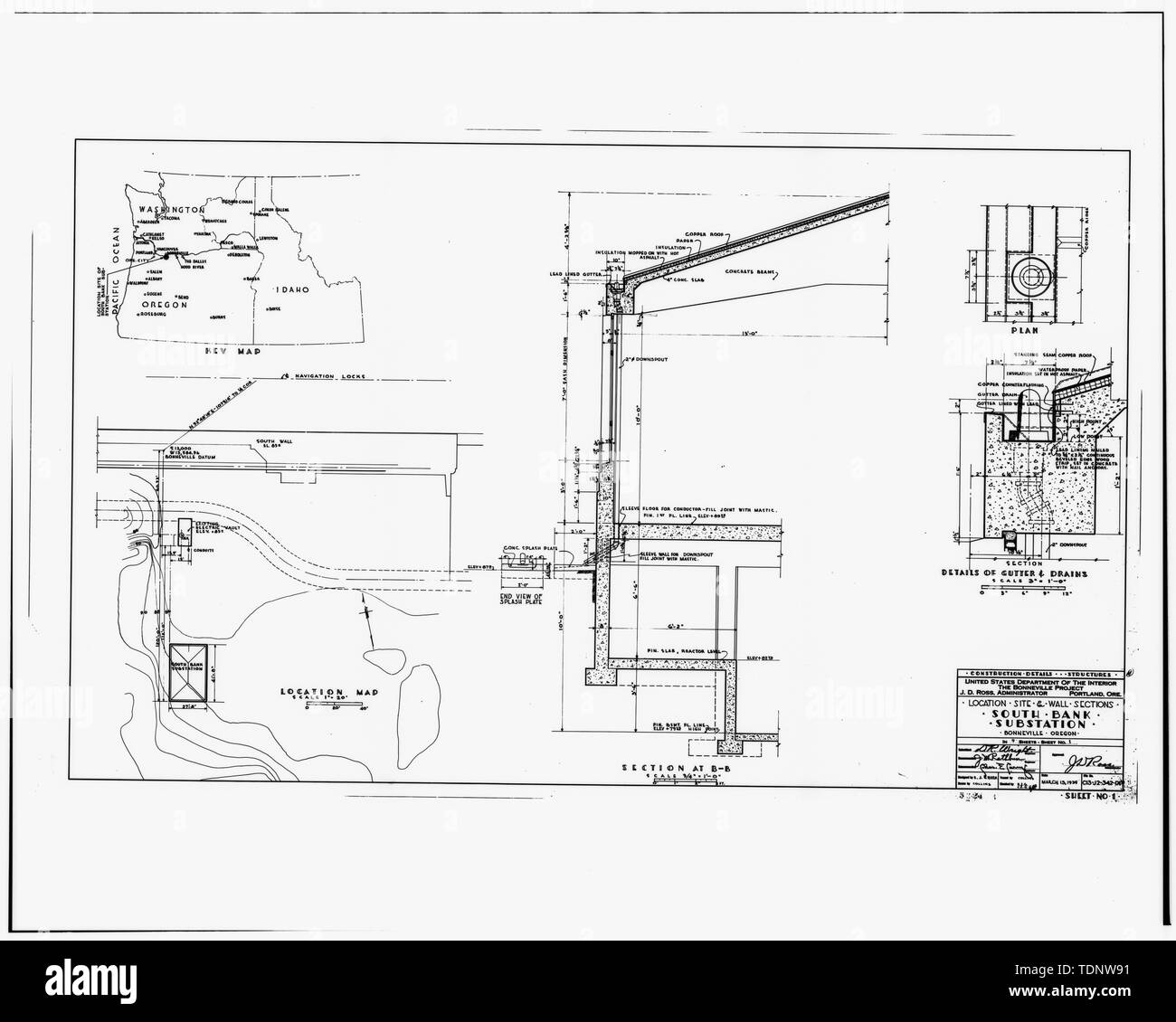 Photocopy Of Location Site And Wall Sections Drawing From The Bonneville Power Administration Engineering Vault Portland Oregon Drawing C13 J2 342 D1 Sheet 1 13 March 1939 Bonneville Power Administration South Bank Substation I 84