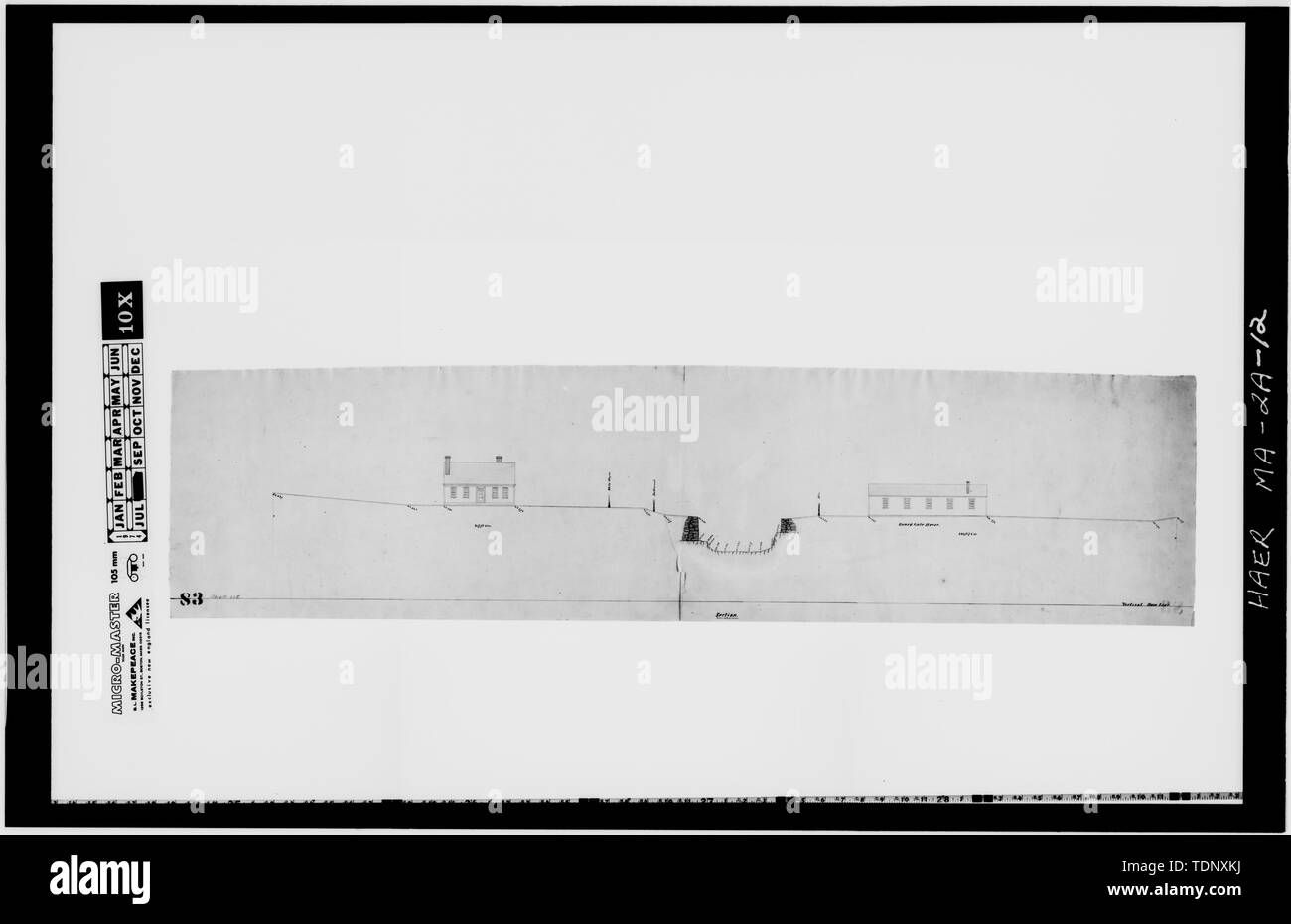 Photocopy of a drawing (original in the Collection of the PLandC, Shelf 115, Drawing 83)-ca. 1832-1848-SITE SECTION OF THE GUARD LOCKS SHOWING ORIGINAL GATE HOUSE and LOCK KEEPER' S HOUSE - Pawtucket Canal, Guard Locks, Lowell, Middlesex County, MA; Merrimack Manufacturing Company; Francis, J B; Proprietors of the Locks and Canals on the Merrimack River; Jackson, Jonathan; Tyler, Joseph; Clark, Thomas; Boott, Kirk; Lewis, Joel; Boyden, Uriah; Jackson, Patrick Tracy; Hawley, Monica E, transmitter; Boucher, Jack, photographer; Scurci, Louis R, delineator; Ventsch, Leslie, delineator; Conner, Mic - Stock Image