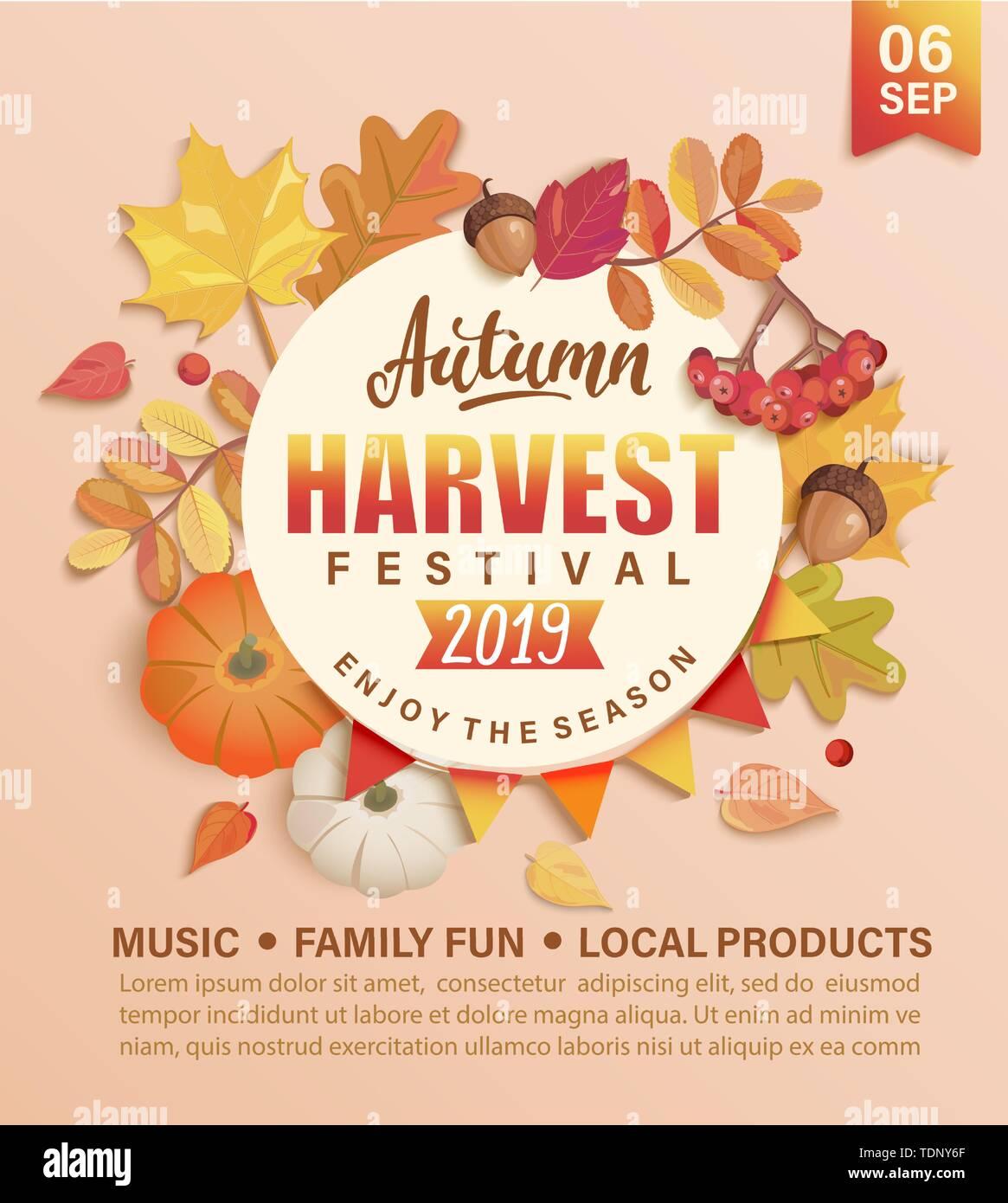 Invitation to autumn Harvest Festival. Stock Vector