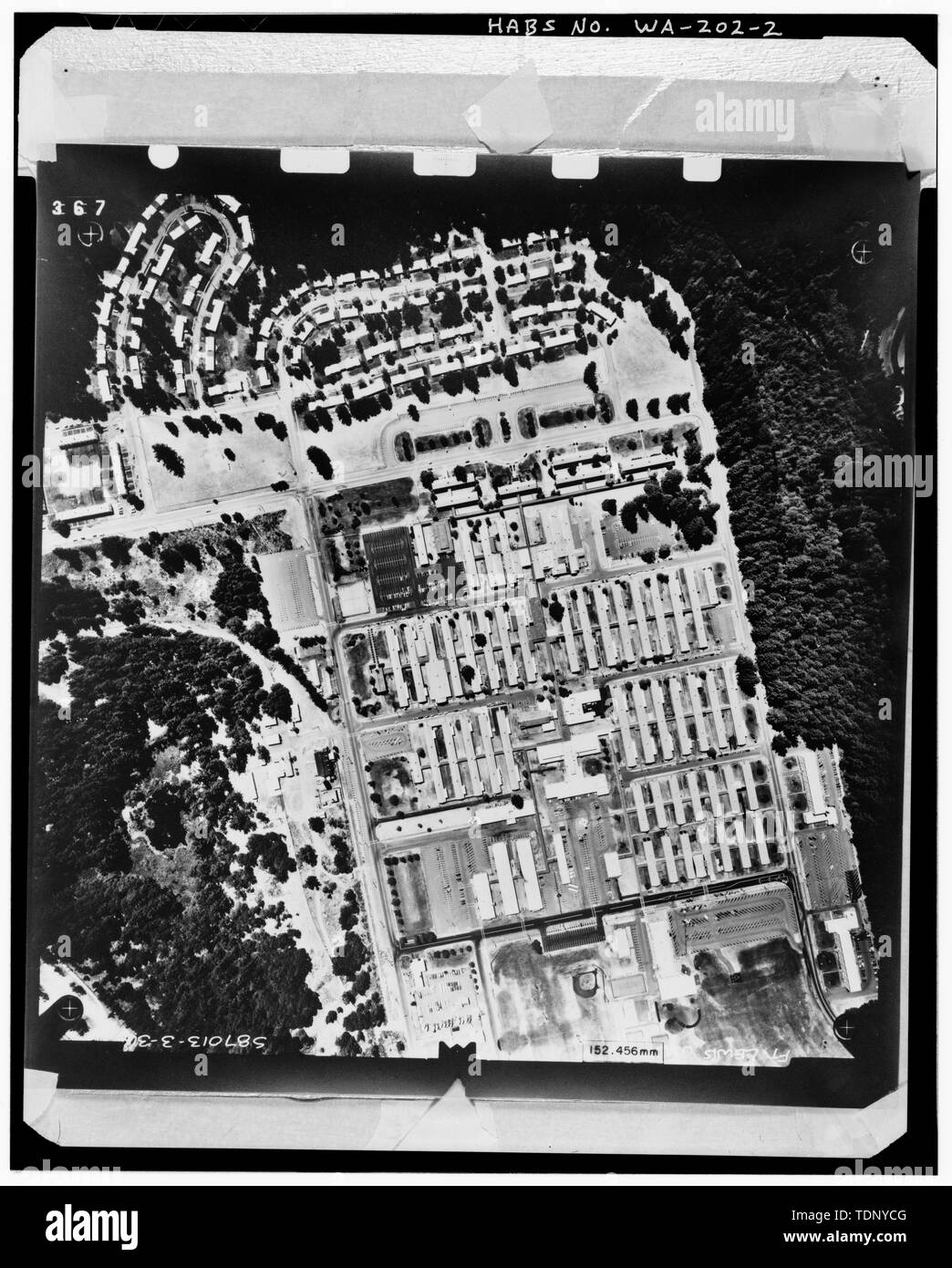 Photocopy of an aerial plan view photograph of Madigan Hospital taken on August 9, 1987. HABS negative is a 4x5' copy negative made from original black and white photograph in the collection of the U.S. Army Corps of Engineers, Seattle District Office, Seattle, WA. - Madigan Hospital, Bounded by Wilson and McKinley Avenues and Garfield and Lincoln Streets, DuPont, Pierce County, WA; Sawyer, Philip; Steinbrueck, Victor E; Boespflug, John F; Maul, David, transmitter; Price, Virginia B, transmitter - Stock Image
