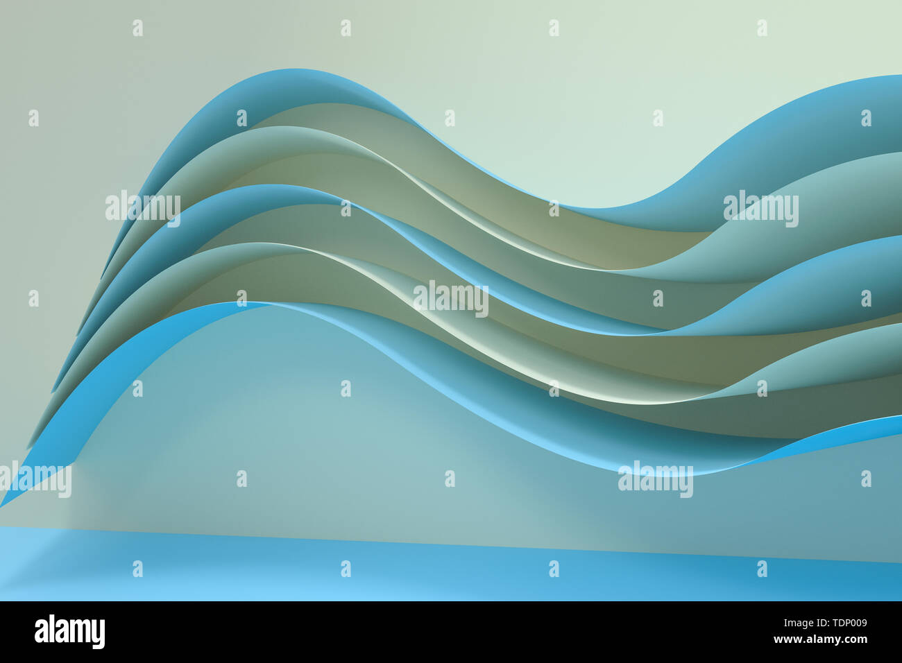 3d rendering curve paper background, tint color background, computer digital background - Stock Image