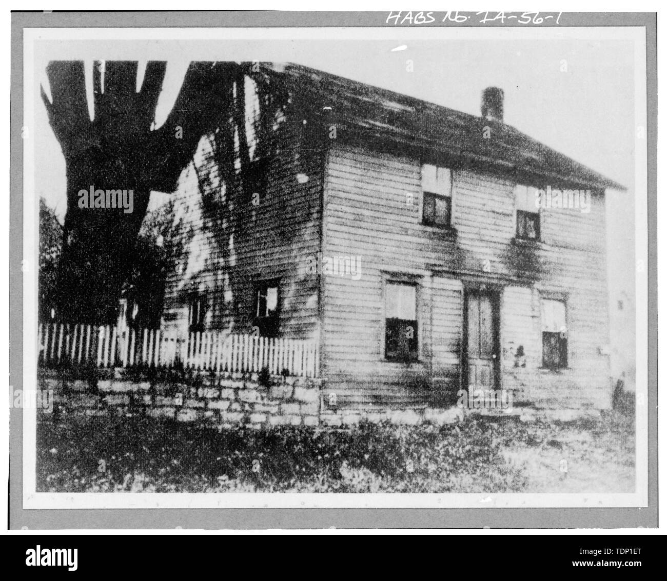 Photocopy of early photograph, date unknown. (Before removal in 1933) MAIN FACADE - Isaac Cody House, 1034 North Cody Street (moved to 720 Sheridan Avenue, Cody, WY), Le Claire, Scott County, IA - Stock Image