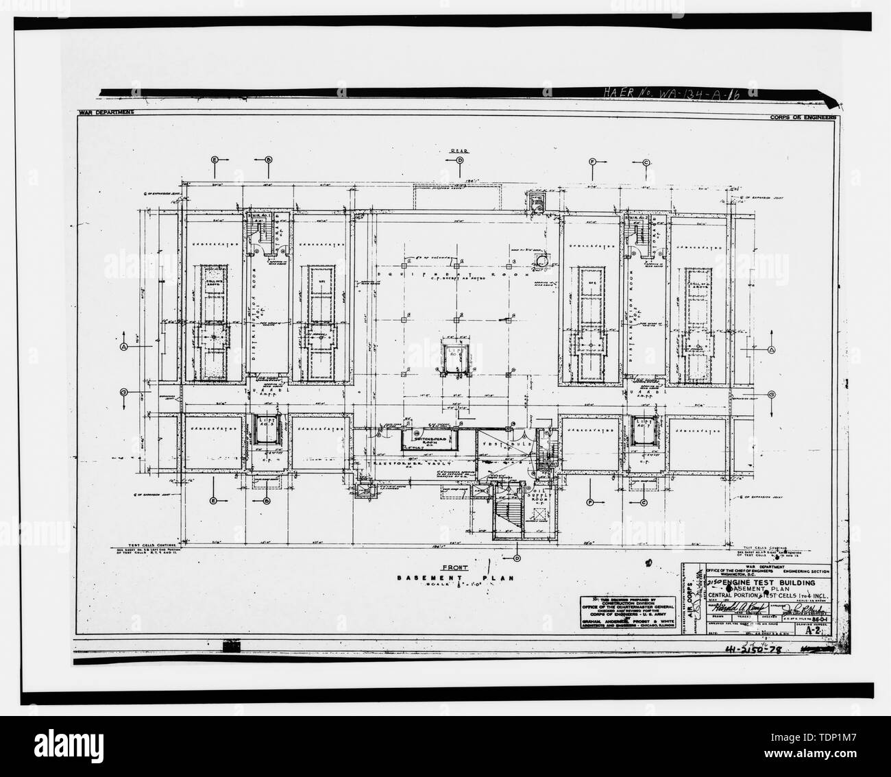Photocopy Of Engineering Drawing May 1941 Original Drawing Located At Fairchild Air Force Base Civil Engineering Building Civil Engineering Vault Engine Test Cell Building Basement Floor Plan Central Portion And Test Cells