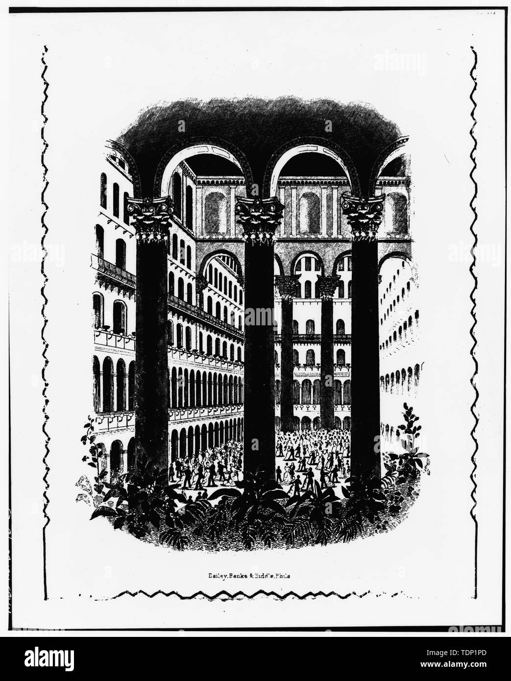 Photocopy of engraving (inscribed with 'Bailey, Banks, and Biddle, Phila.', n.d.) VIEW OF INAUGURAL(?) BALL IN CENTRAL COURT - Pension Building, 440 G Street Northwest, Washington, District of Columbia, DC - Stock Image