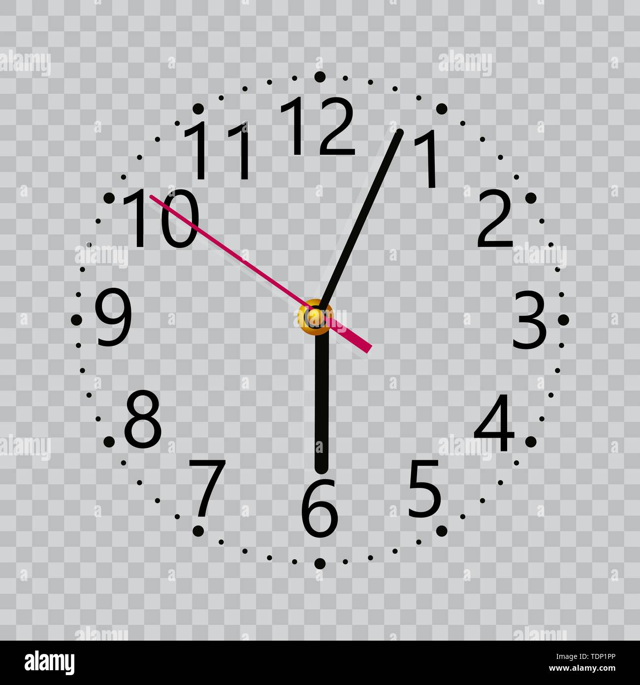 Realistic black wall clock with transparent screen. Vector - Stock Image