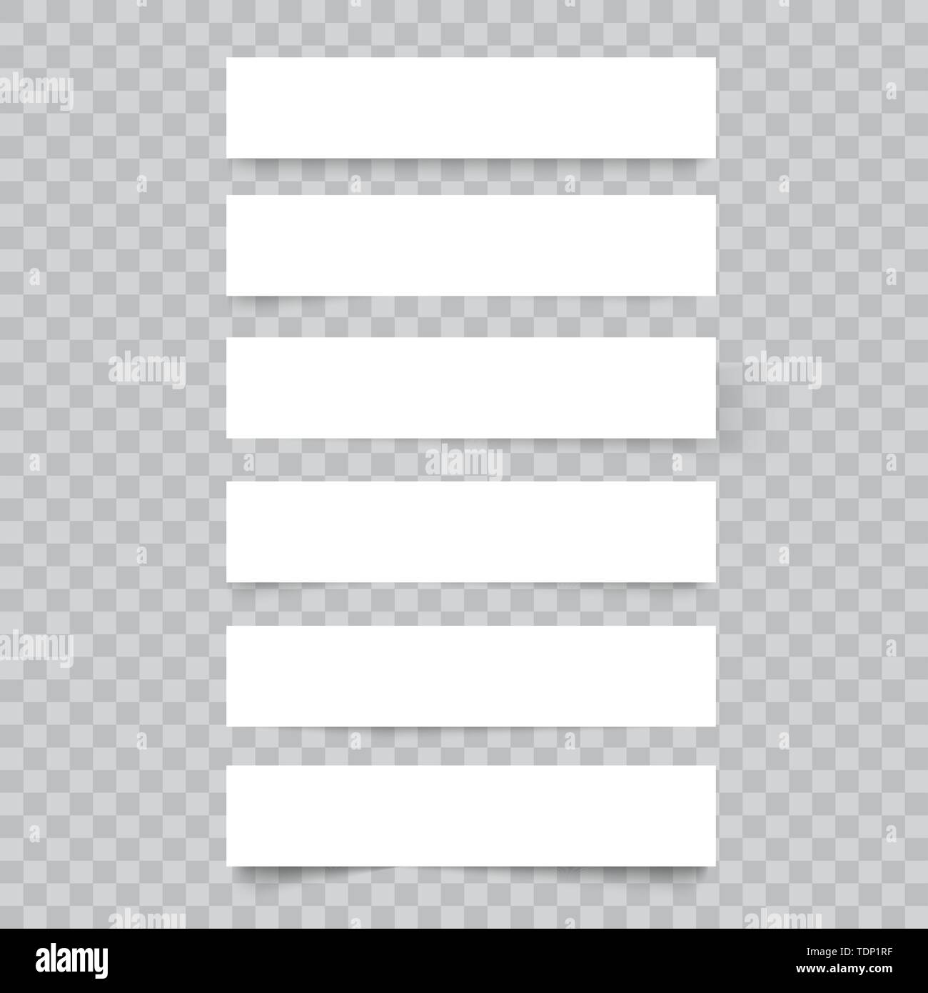 White frame banners on transparent background. Vector - Stock Image