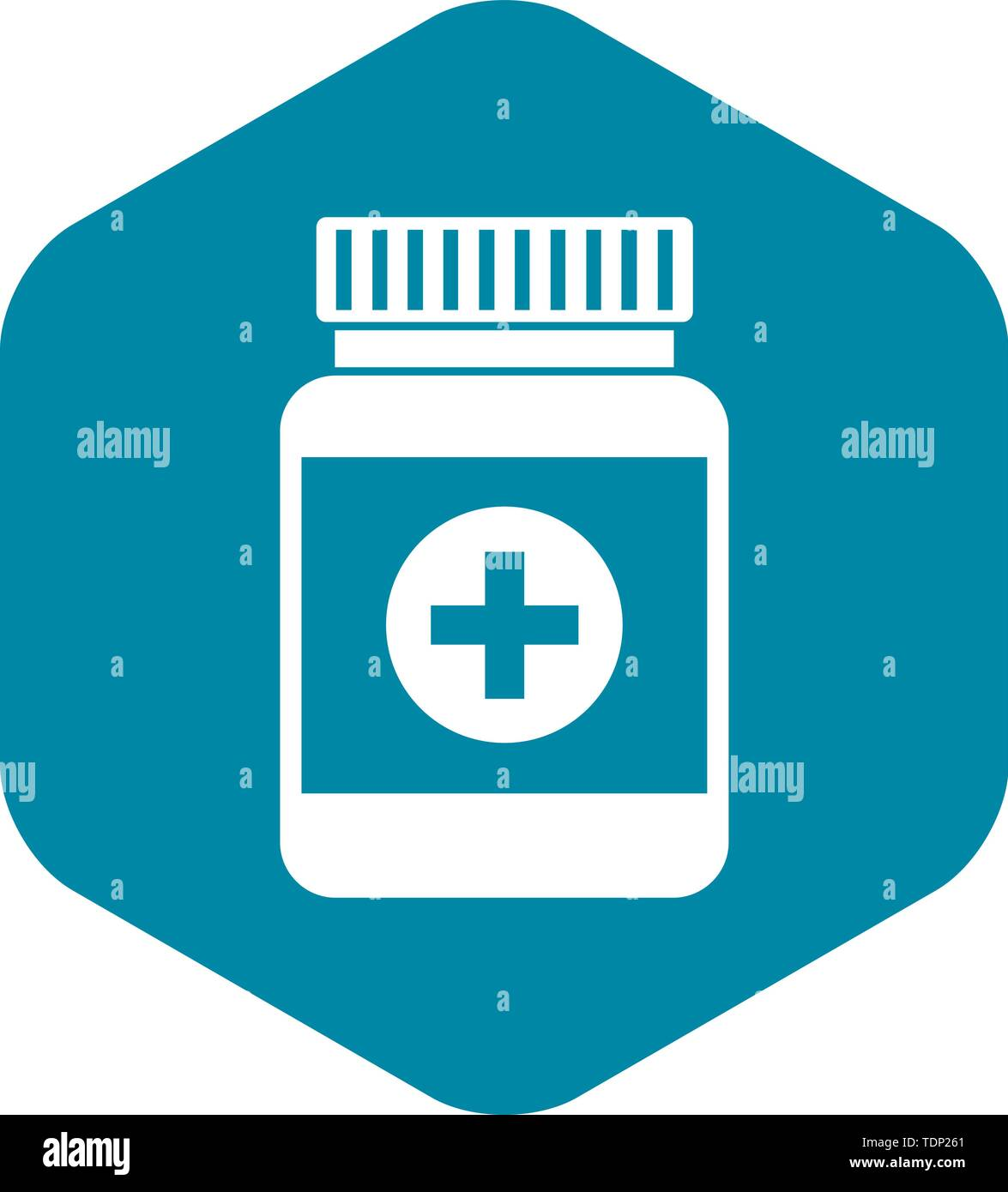 Medicine bottle icon in simple style on a white background vector illustration - Stock Image