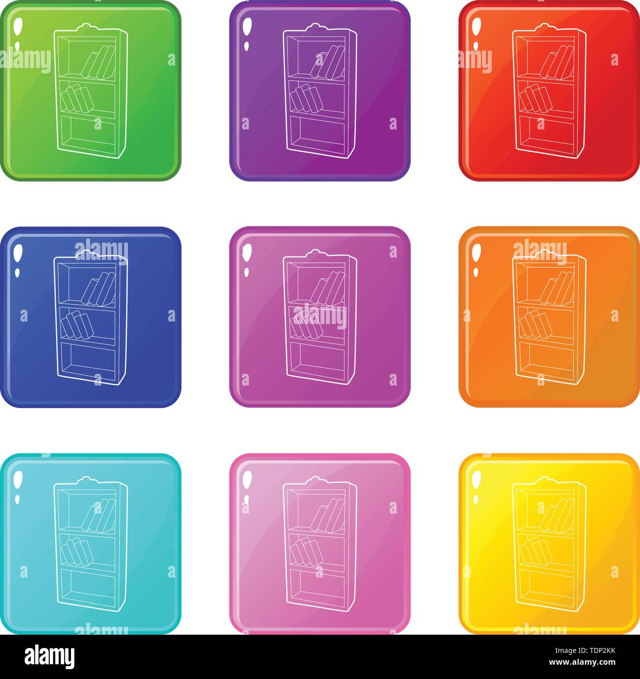 Bookcase icons set 9 color collection isolated on white for any design - Stock Image