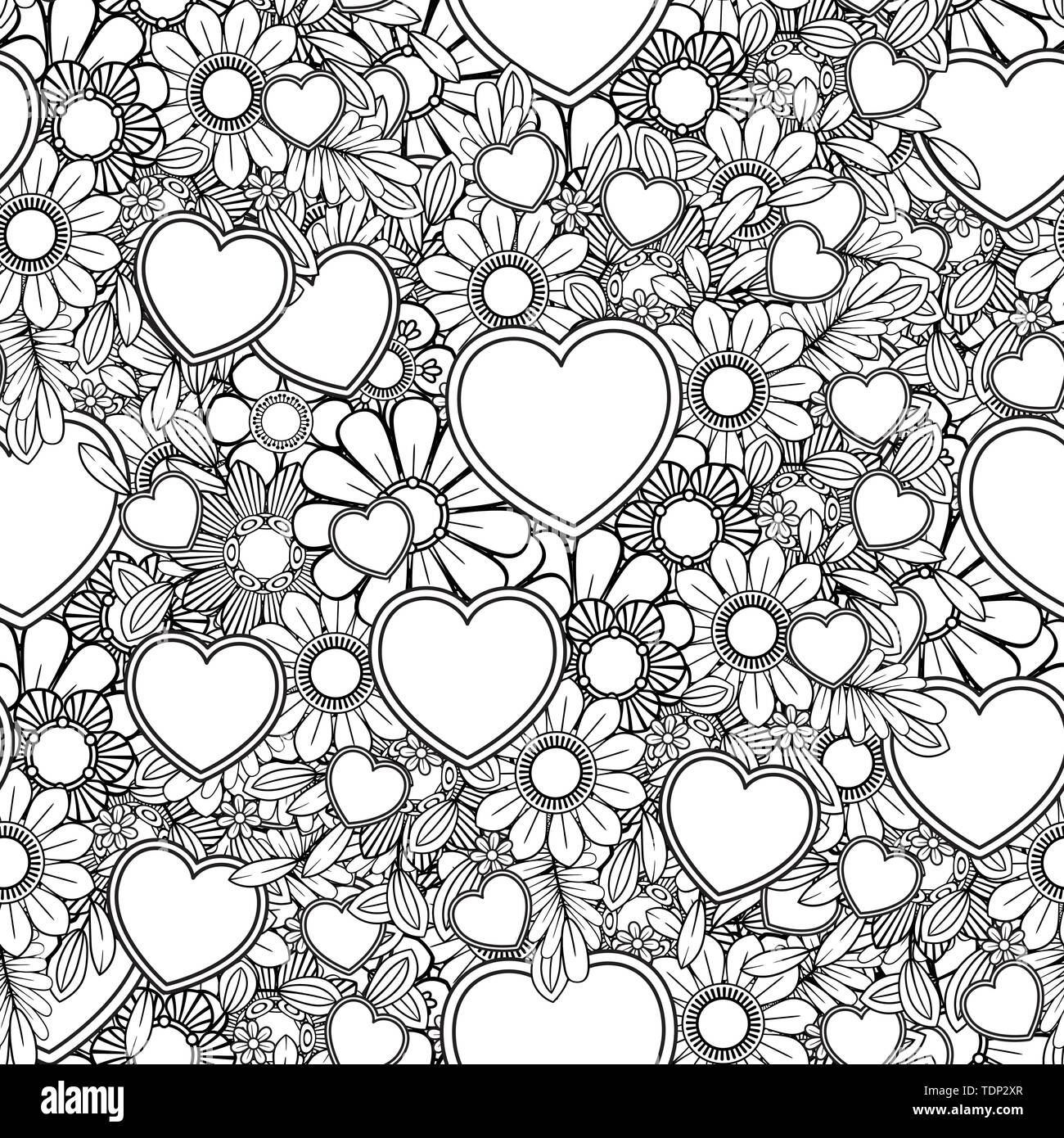 Valentines day seamless pattern with hearts and flowers ...