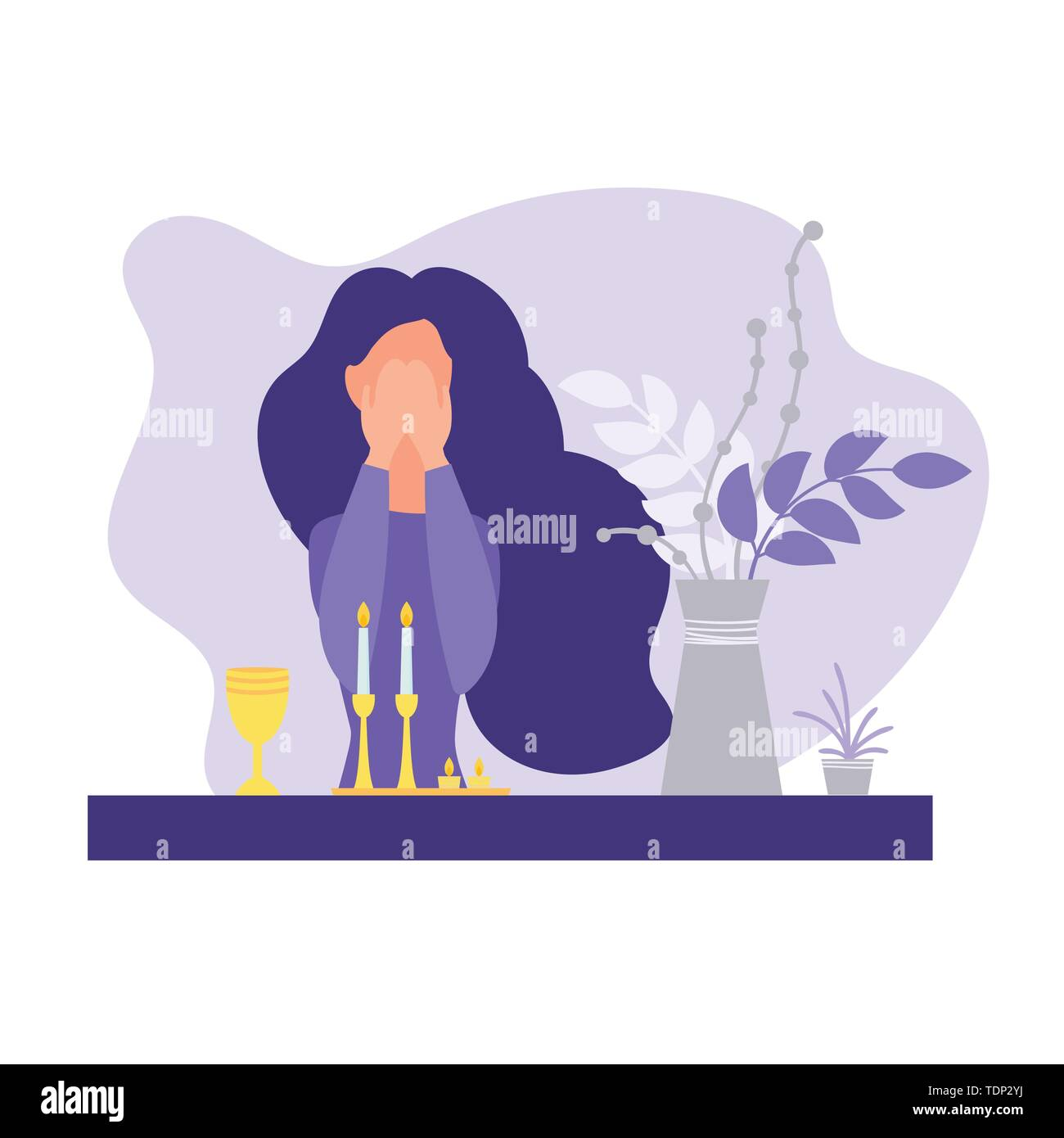 Jewish woman lighting candles for Shabbat and says the blessing. Modern flat style. Isolated on white background. Vector illustration. - Stock Image
