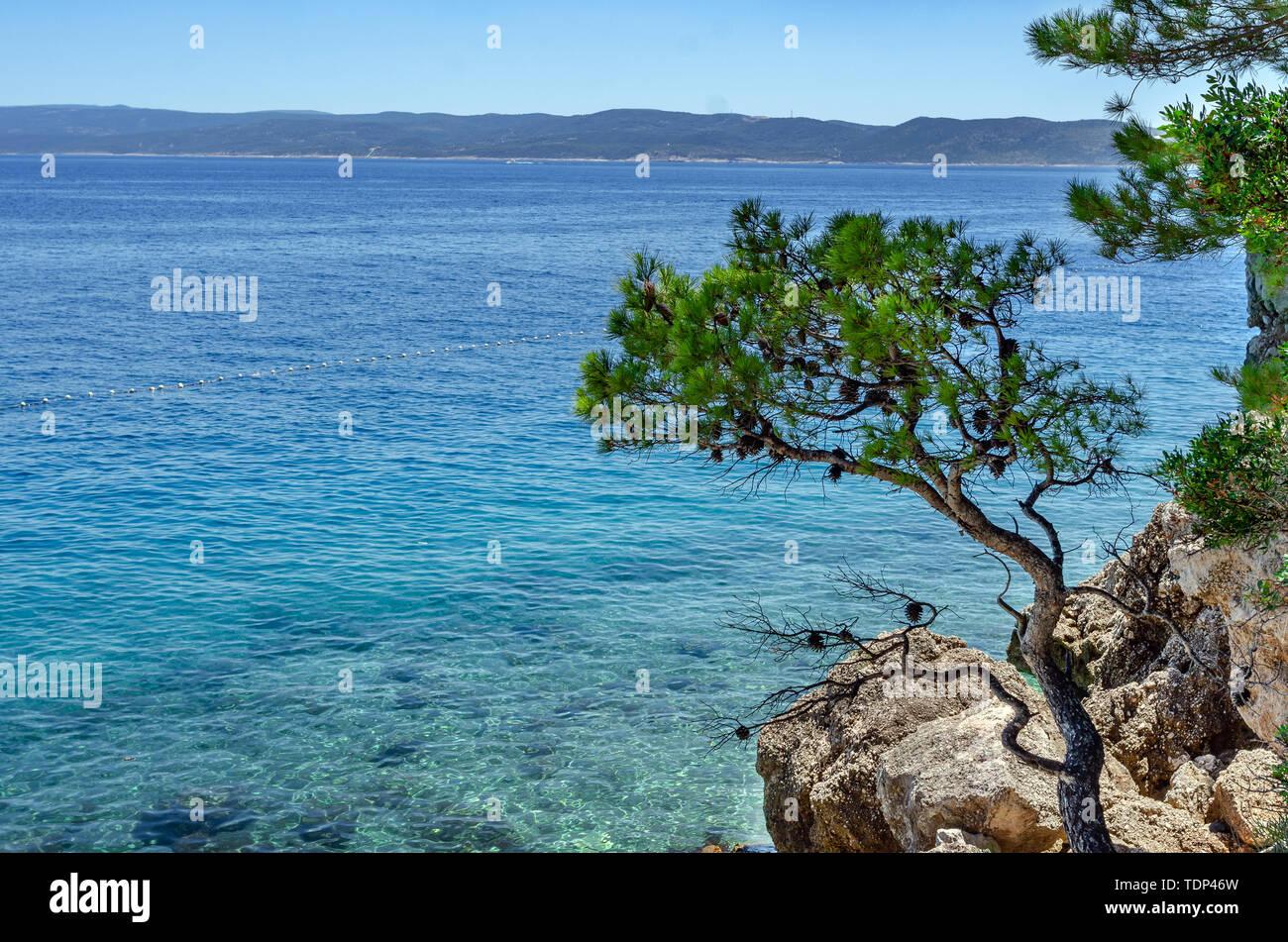 Brela, Makarska Coast, Croatia. - Stock Image