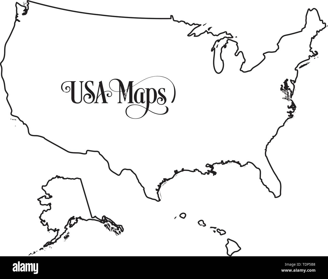 Usa Map Black and White Stock Photos & Images - Alamy