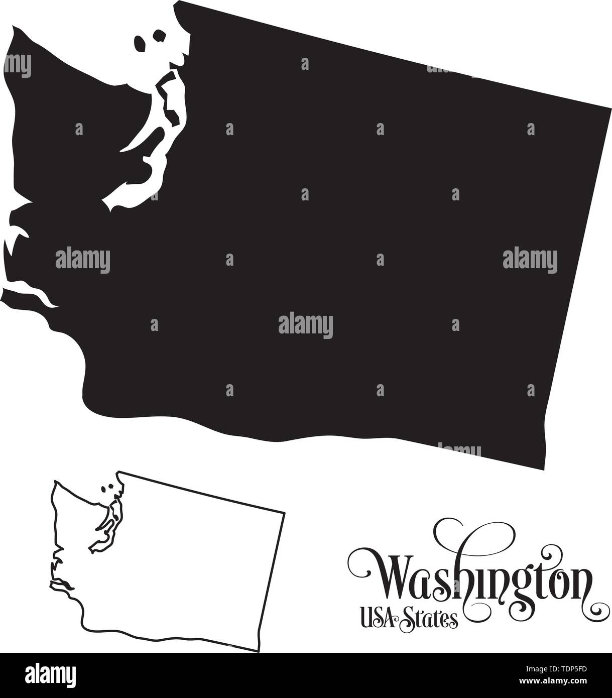 Map of The United States of America (USA) State of Washington - Illustration on White Background. - Stock Vector