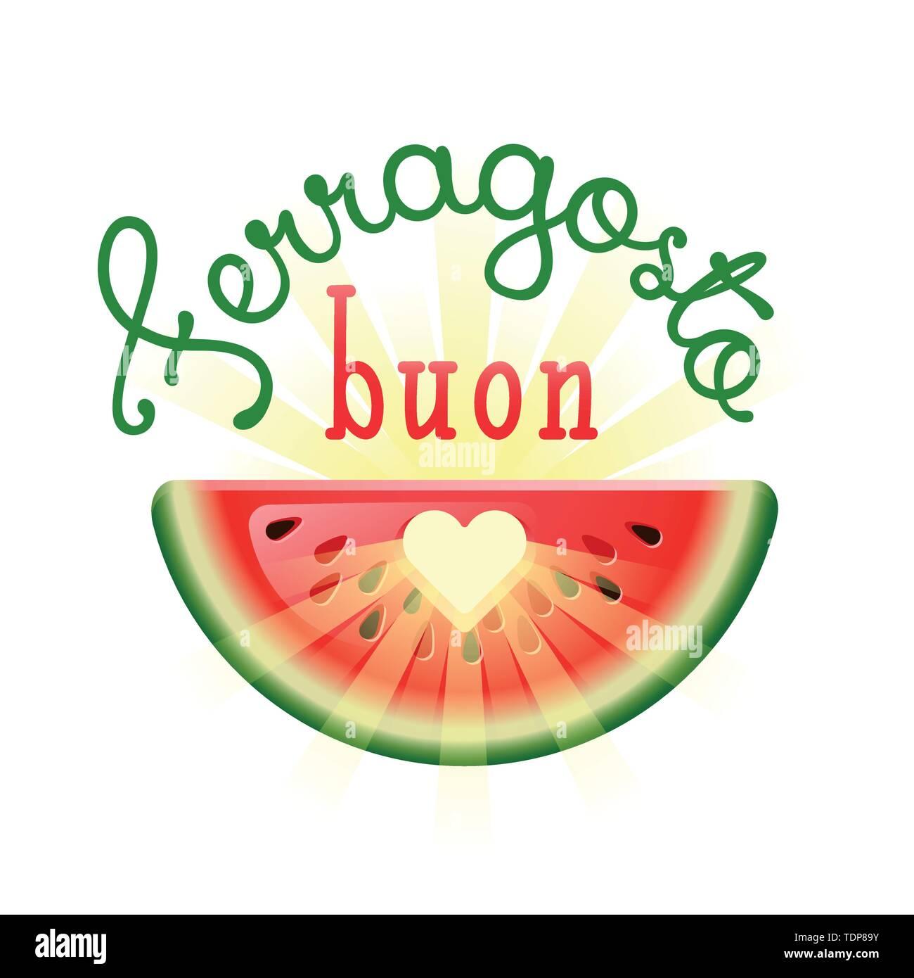 Buon Ferragosto. Happy Summer Holidays in Italian. Italian summer festival concept with heart in watermelon and sunbeams. Vector illustration. - Stock Image