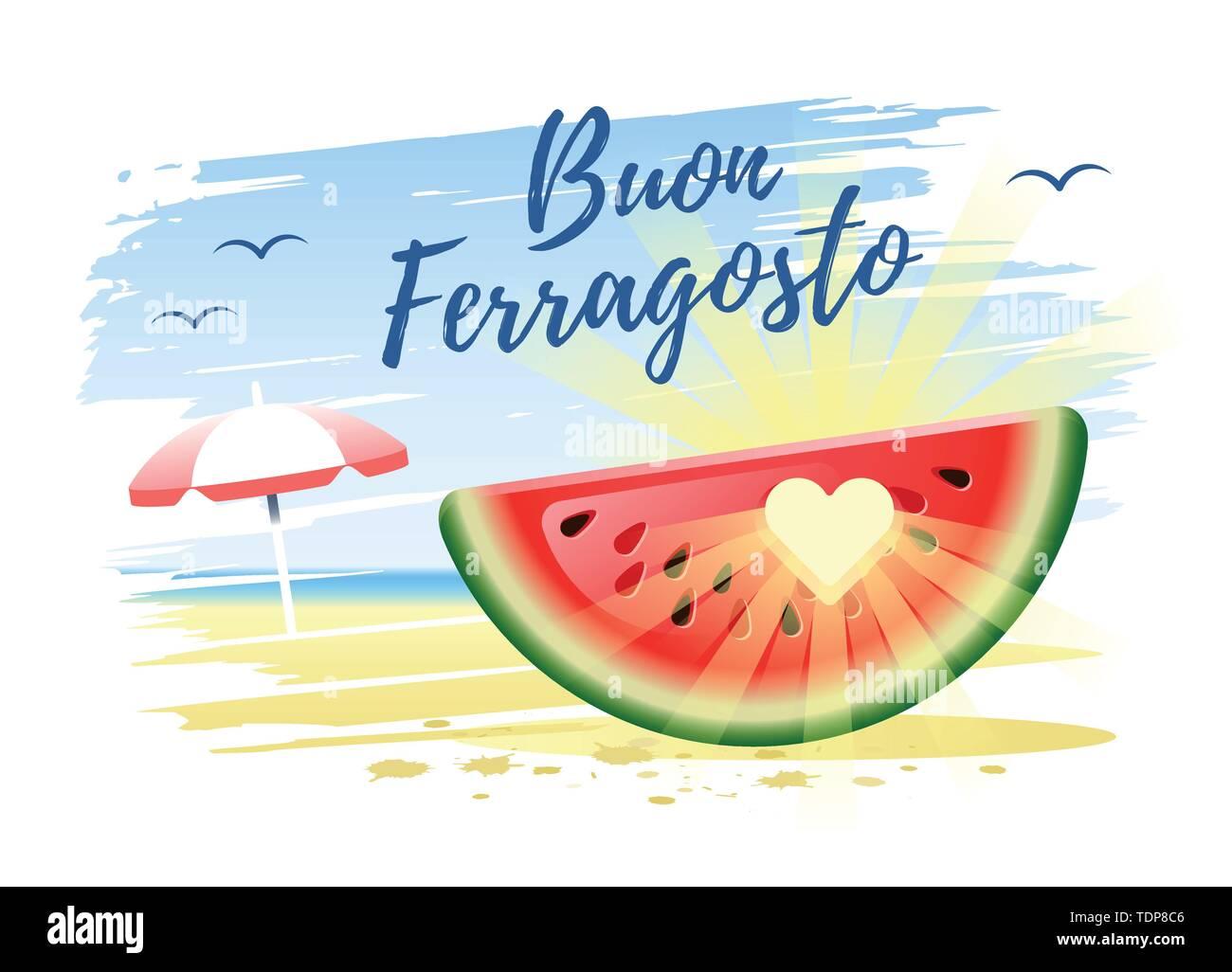 Buon Ferragosto. Happy Summer Holidays in Italian. Italian summer holidays concept with watermelon, sun and beach umbrella on the sand beach backgroun - Stock Image