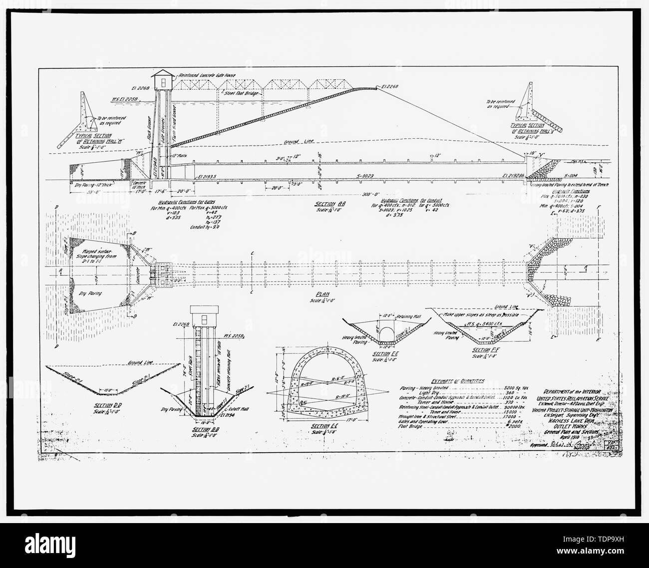 Photocopy of construction drawing, U S  Reclamation Service