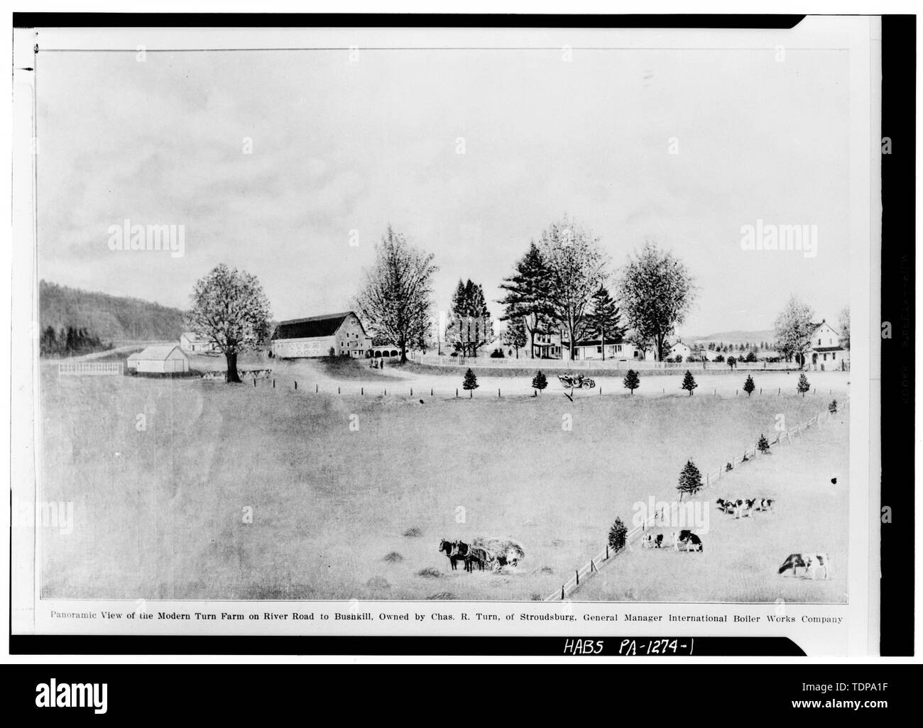 Photocopy of delineation circa 1910 from The Bells Ringing the Message of Progress in Monroe County, Pa. 1915, pp. 96-7 GENERAL VIEW OF FARM - John Turn Farm, River Road (Middle Smithfield Township), Shawnee on Delaware, Monroe County, PA - Stock Image