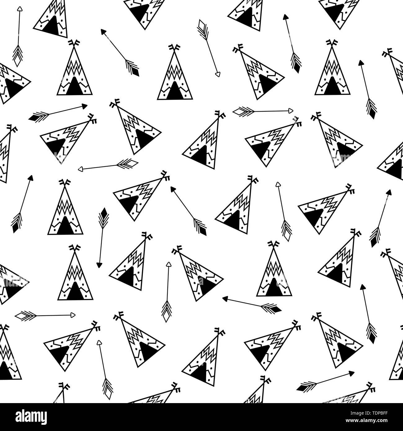 Teepee And Arrows Seamless Pattern Indian Repetitive Design