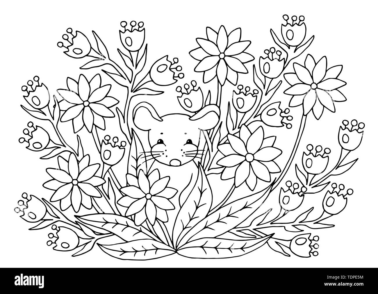 cute abstract coloring page with summer flowers and mouse for kids and adults TDPE5M