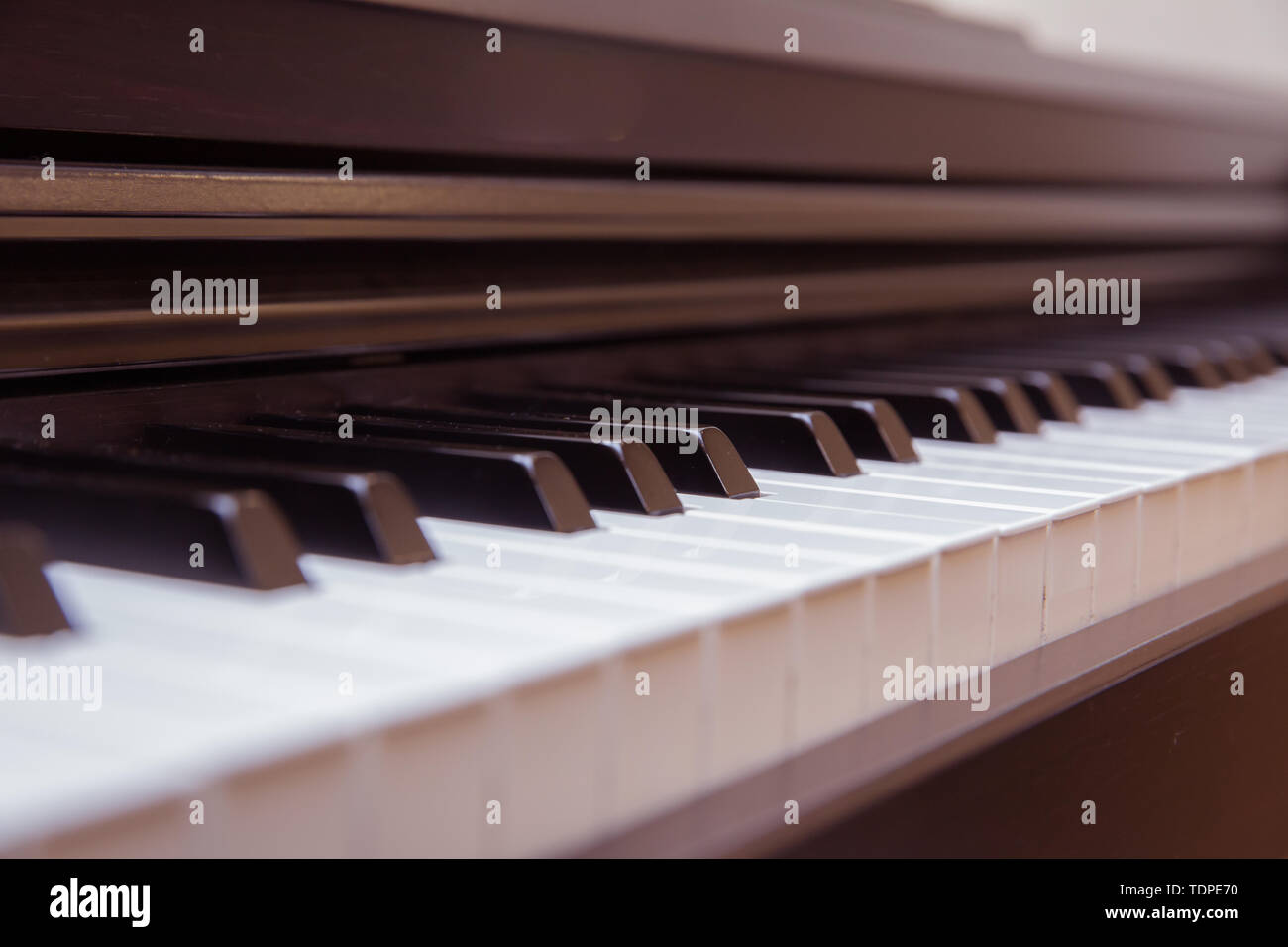 close frontal . The piano was set up in the music room to allow the pianist to rehearse before the classical piano performance in celebration of the - Stock Image
