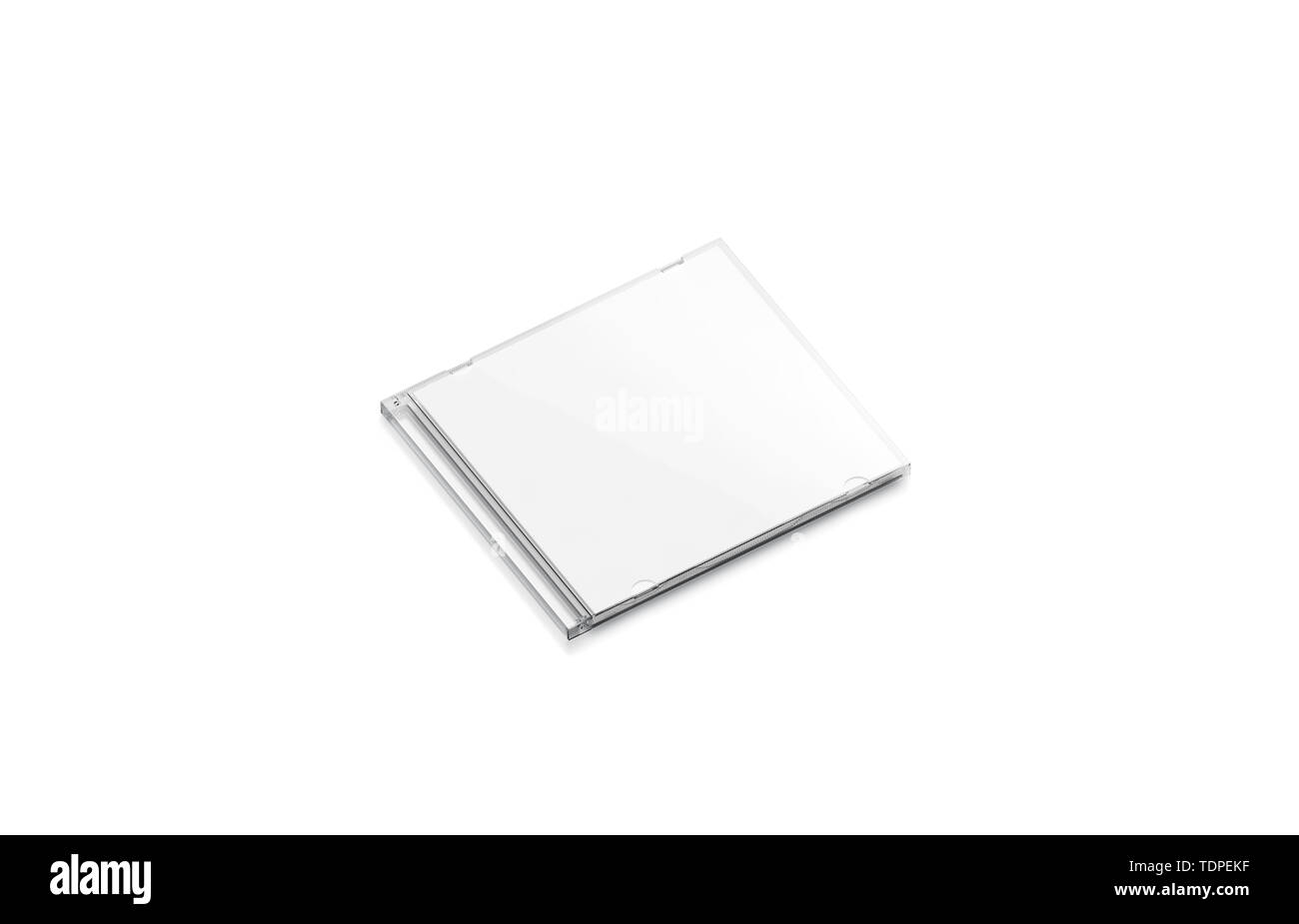 Blank white cd case mock up closed, side view, isolated, 3d rendering. Empty compact disk with movie mockup. Clear dvd case for digital multimedia or software template. - Stock Image