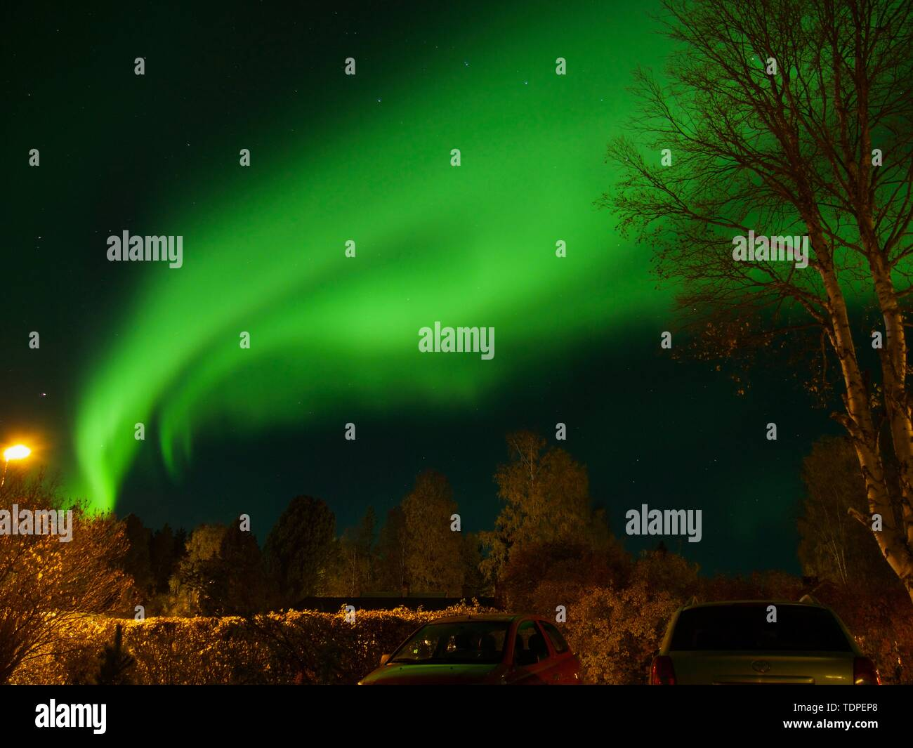 A wonderful night northern lights flying over the Nortrh of Sweden - Stock Image