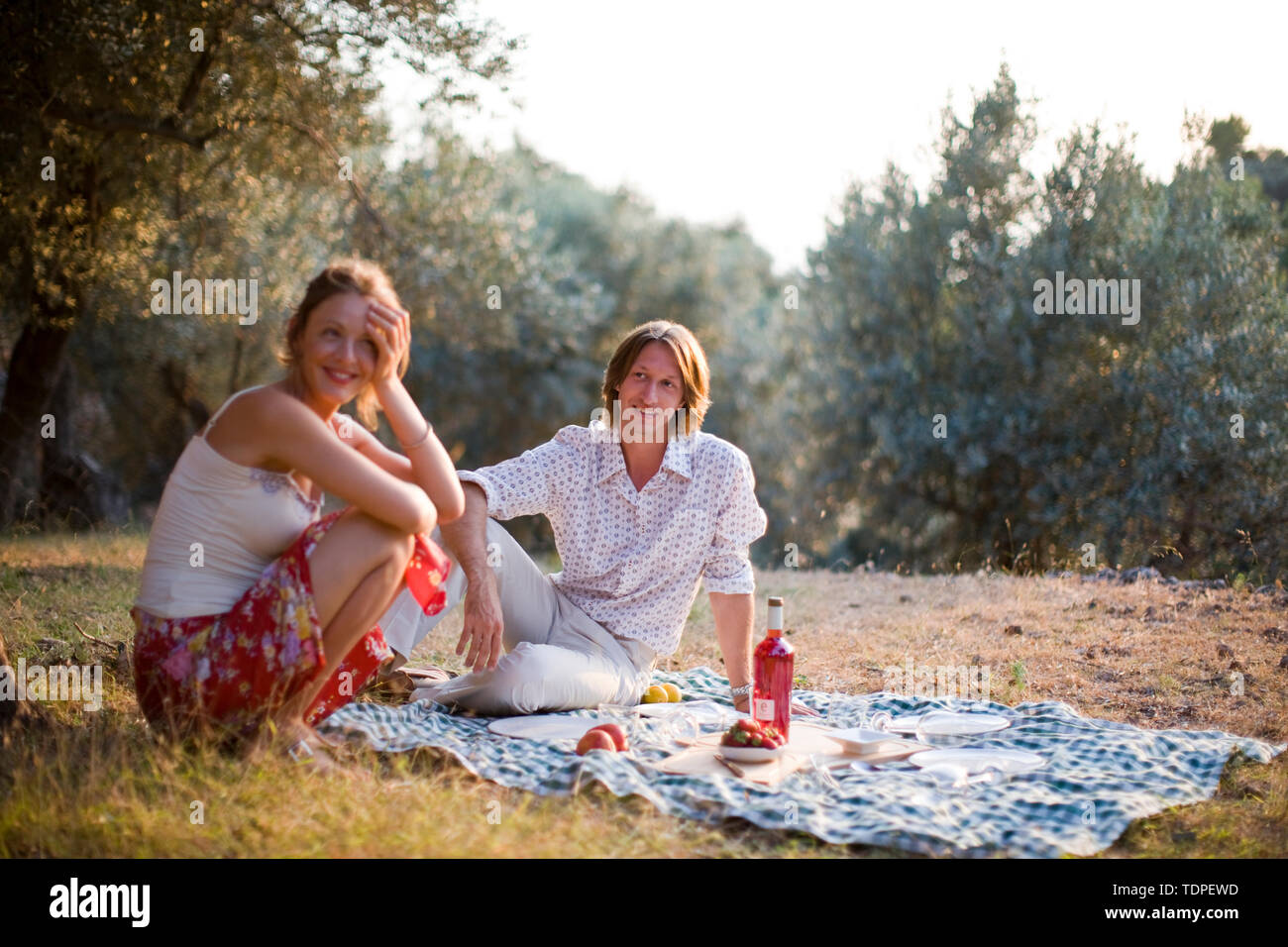 Mid-adult couple having a picnic in a country field. - Stock Image