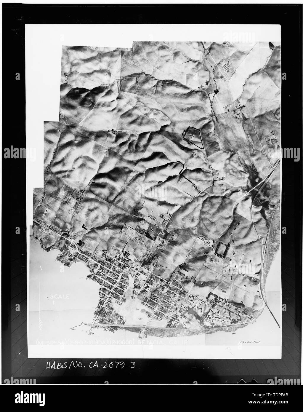 (from National Archives, Cartographic Division, Record Group 156, Folder 2) U.S. Army Photographer February, 1937 AERIAL VIEW OF BENICIA - City of Benicia, General Views, Benicia, Solano County, CA - Stock Image