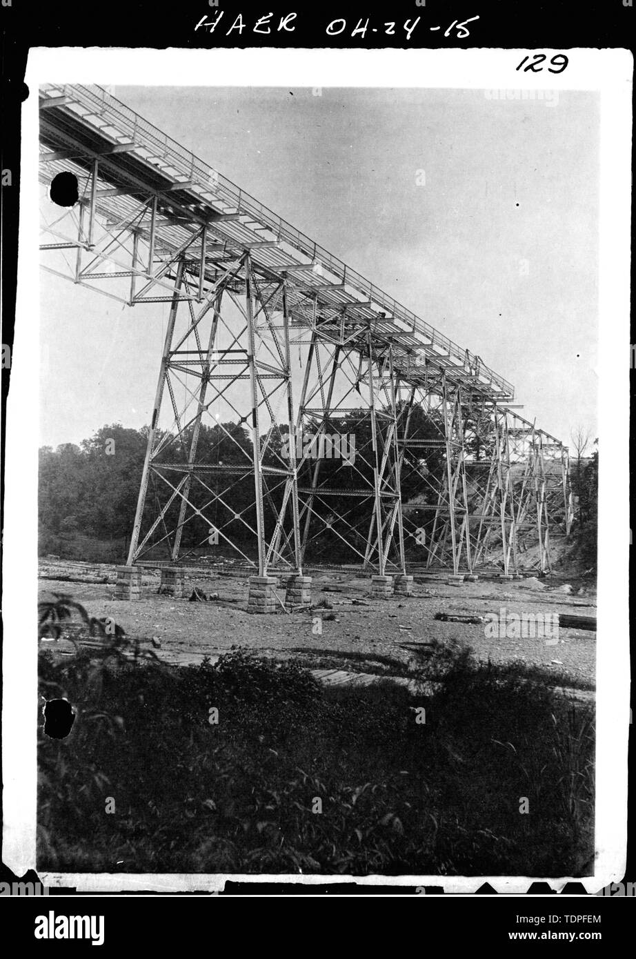 (from collection of Mrs. L.J. Fargo, Lexington, Ohio) showing CONSTRUCTION ACTIVITY OF STEELWORK FOR HIGH-LEVEL BRIDGE, 1896. - Forty-sixth Street Bridge, Spanning Ashtabula River, Ashtabula, Ashtabula County, OH - Stock Image
