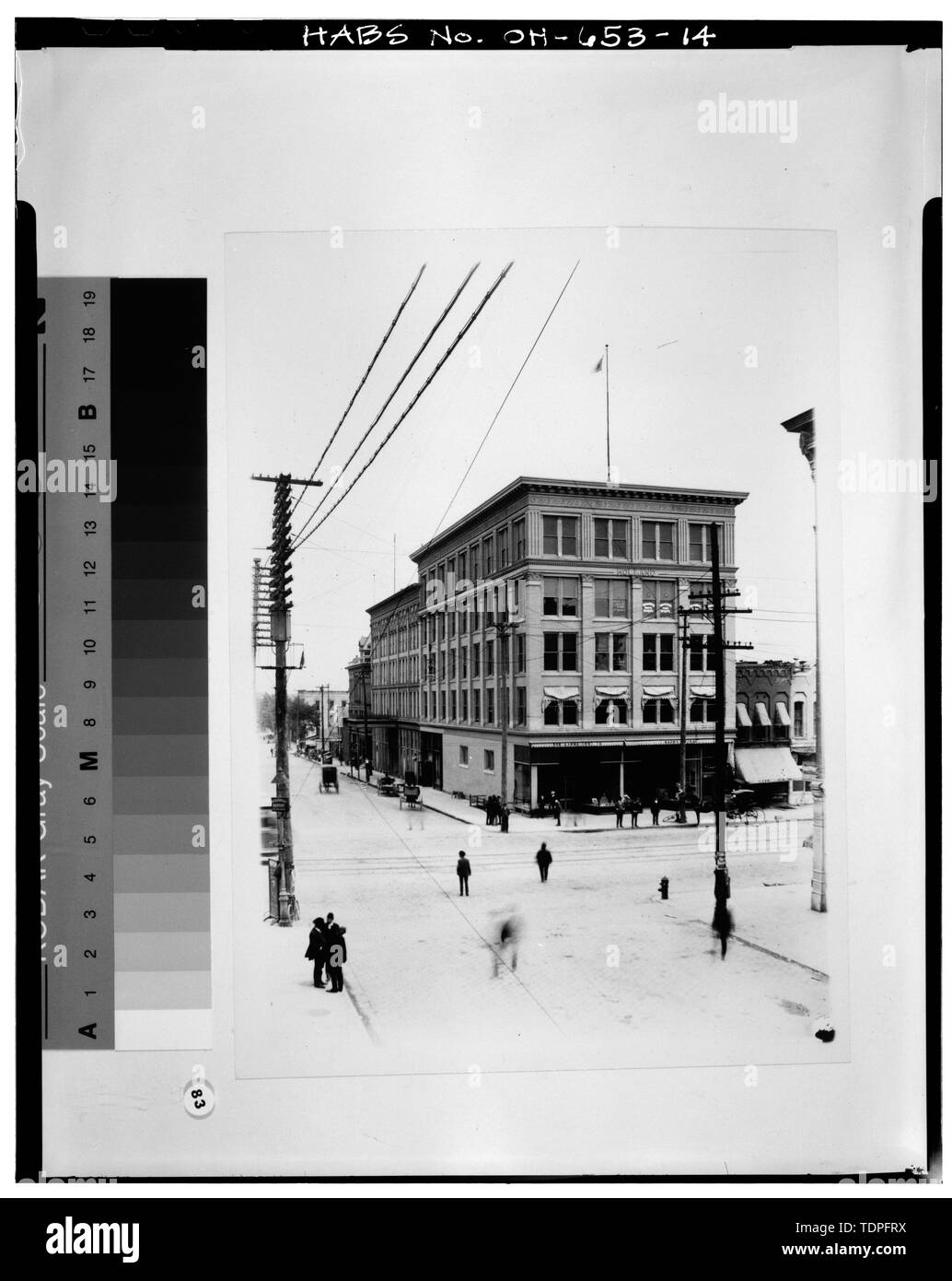 (original negative in the possession of the Allen County Museum, Ebesole Studio Glass Plate Negative Collection, circa 1900), photographer unknown VIEW SOUTHEAST SHOWING HOLLAND BLOCK BUILDING AND ANNEX - Holland Block Annex, 112-116 East High Street, Lima, Allen County, OH - Stock Image