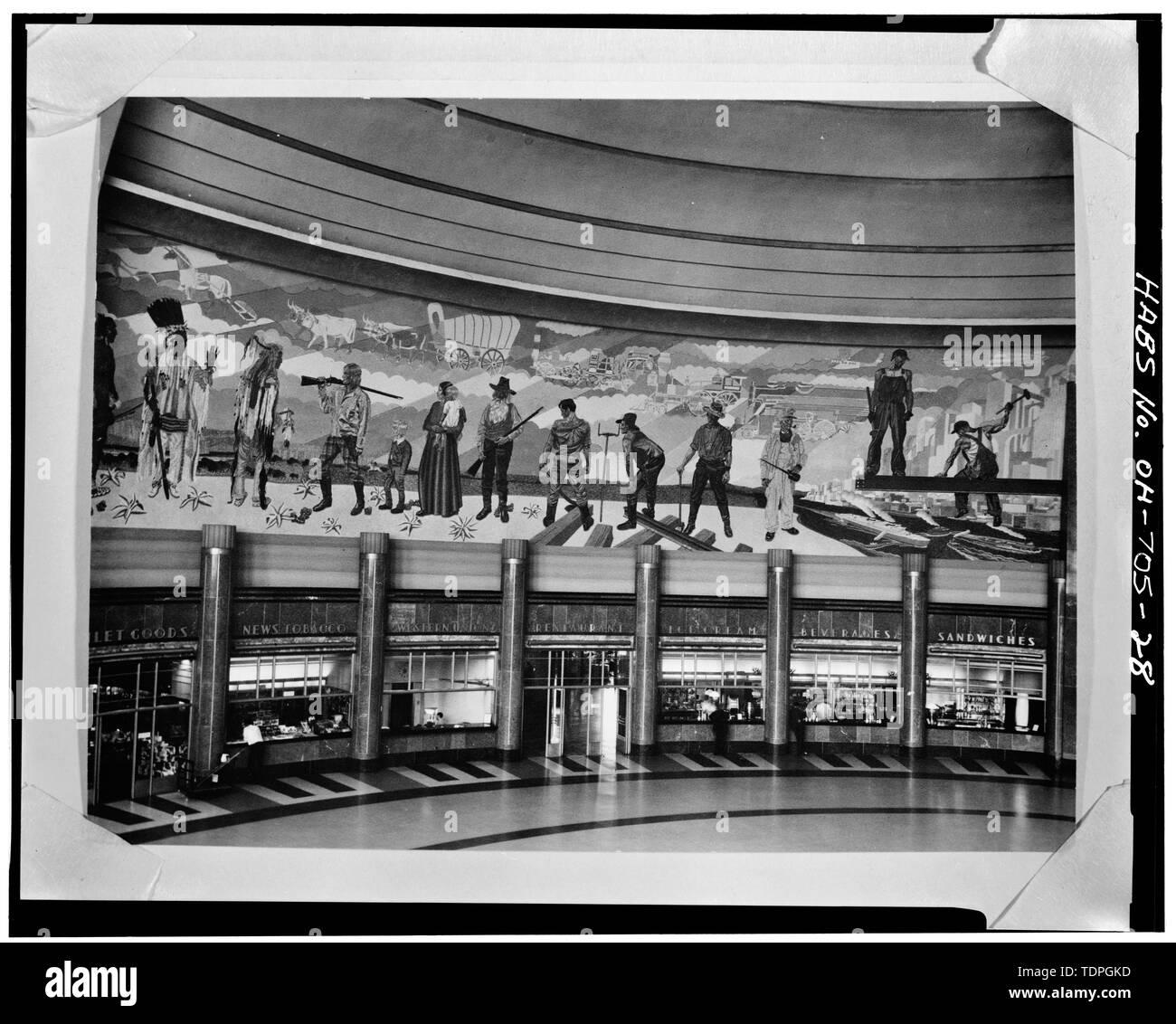 MURAL ON SOUTHWEST QUADRANT OF CONCOURSE, LOOKING WEST - Cincinnati Union Terminal, 1301 Western Avenue, Cincinnati, Hamilton County, OH Stock Photo