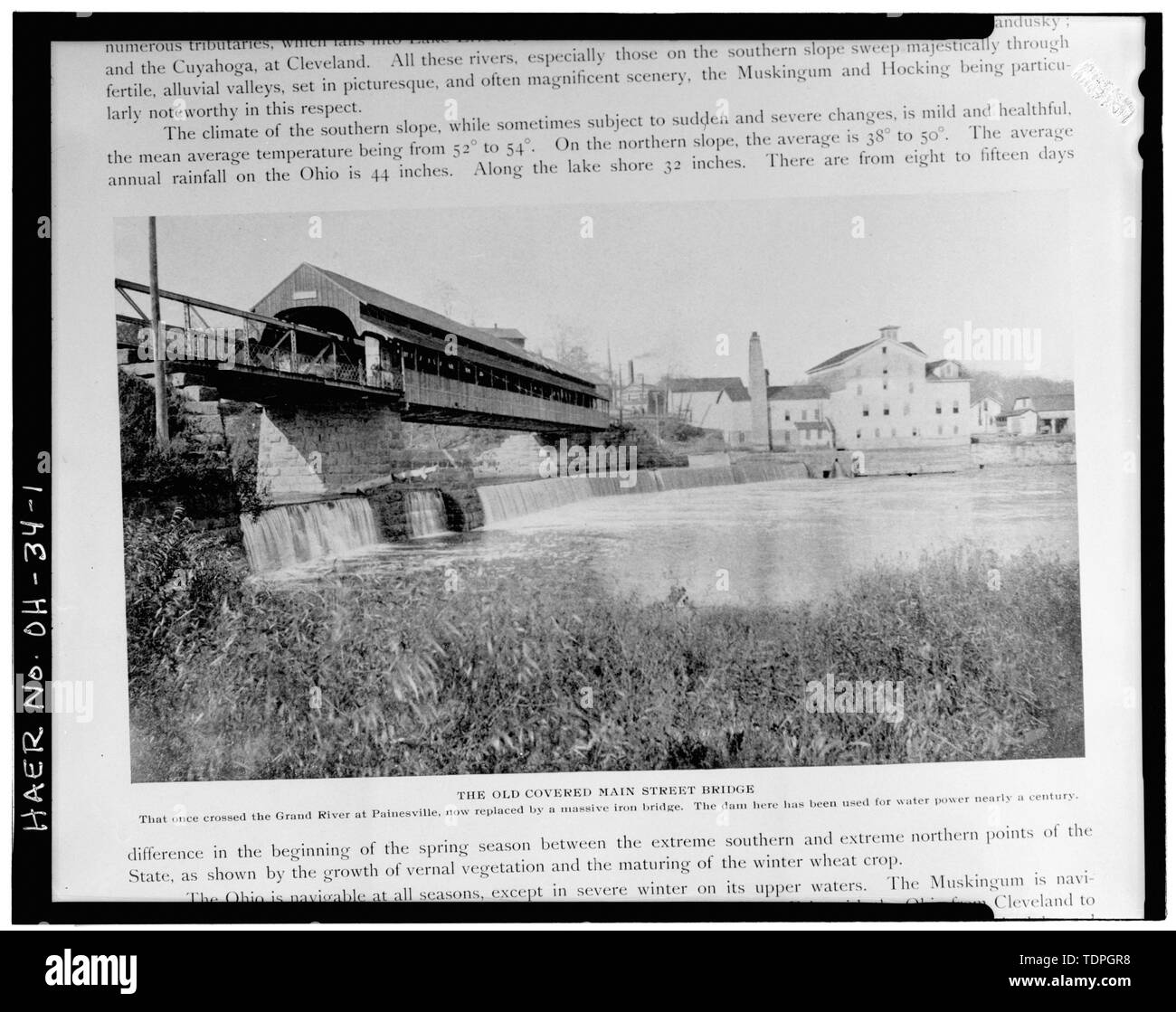 . VIEW SHOWING 1866 COVERED BRIDGE AND 1881 EXTENSION PREVIOUS TO THE 1896 MAIN STREET BRIDGE (from C. S. Van Tassel's The Book of Ohio (Vol. 1), Toledo, Ohio, 1901, p. 200.) - Main Street Bridge, Spanning Grand River at Main Street, Painesville, Lake County, OH - Stock Image