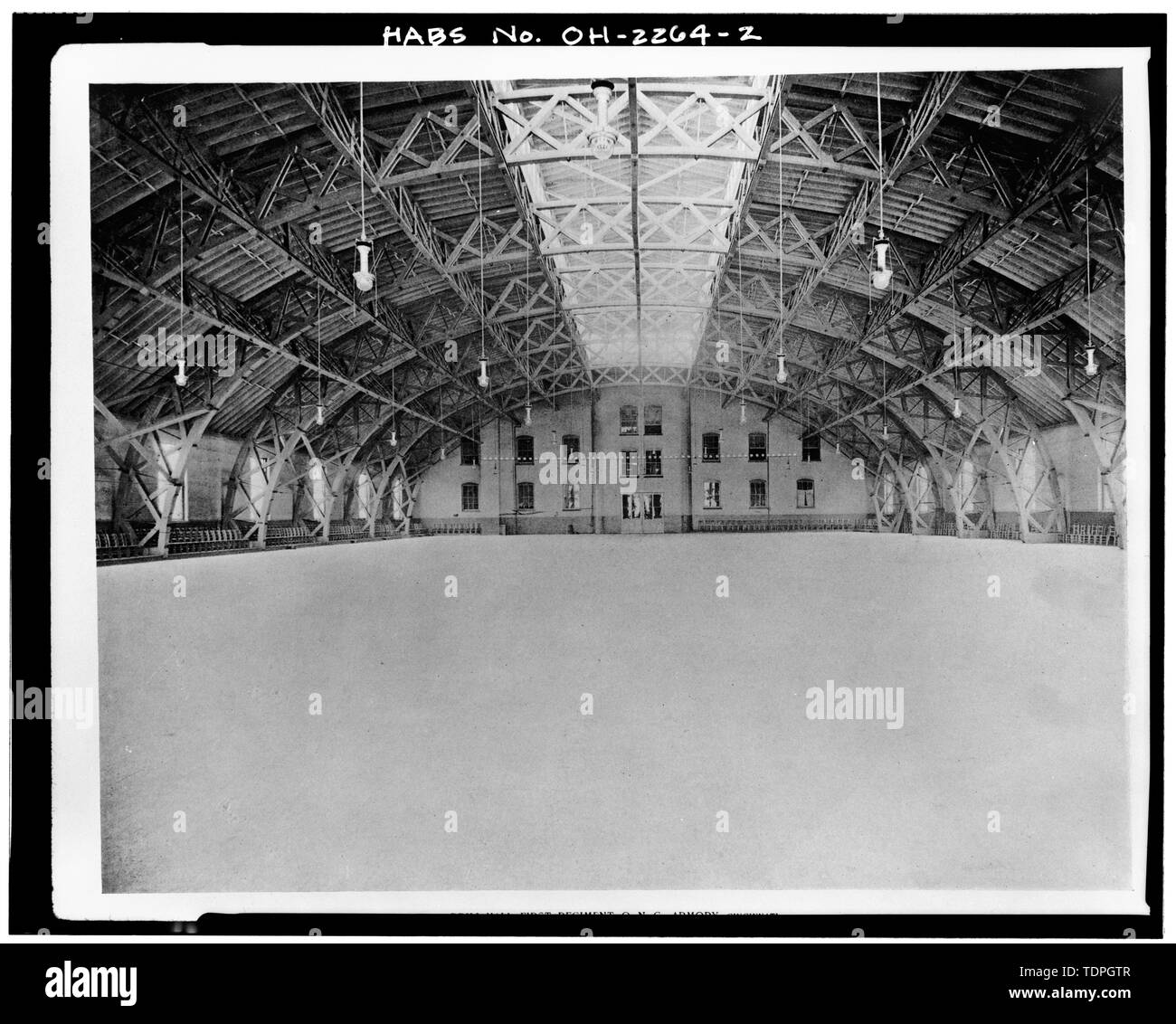 from 'Selections from Executed Work and Sketches,' Hannaford and Sons, Architects, circa 1893 INTERIOR OF DRILL HALL - Ohio National Guard Armory, 1417-1437 Western Avenue, Cincinnati, Hamilton County, OH - Stock Image